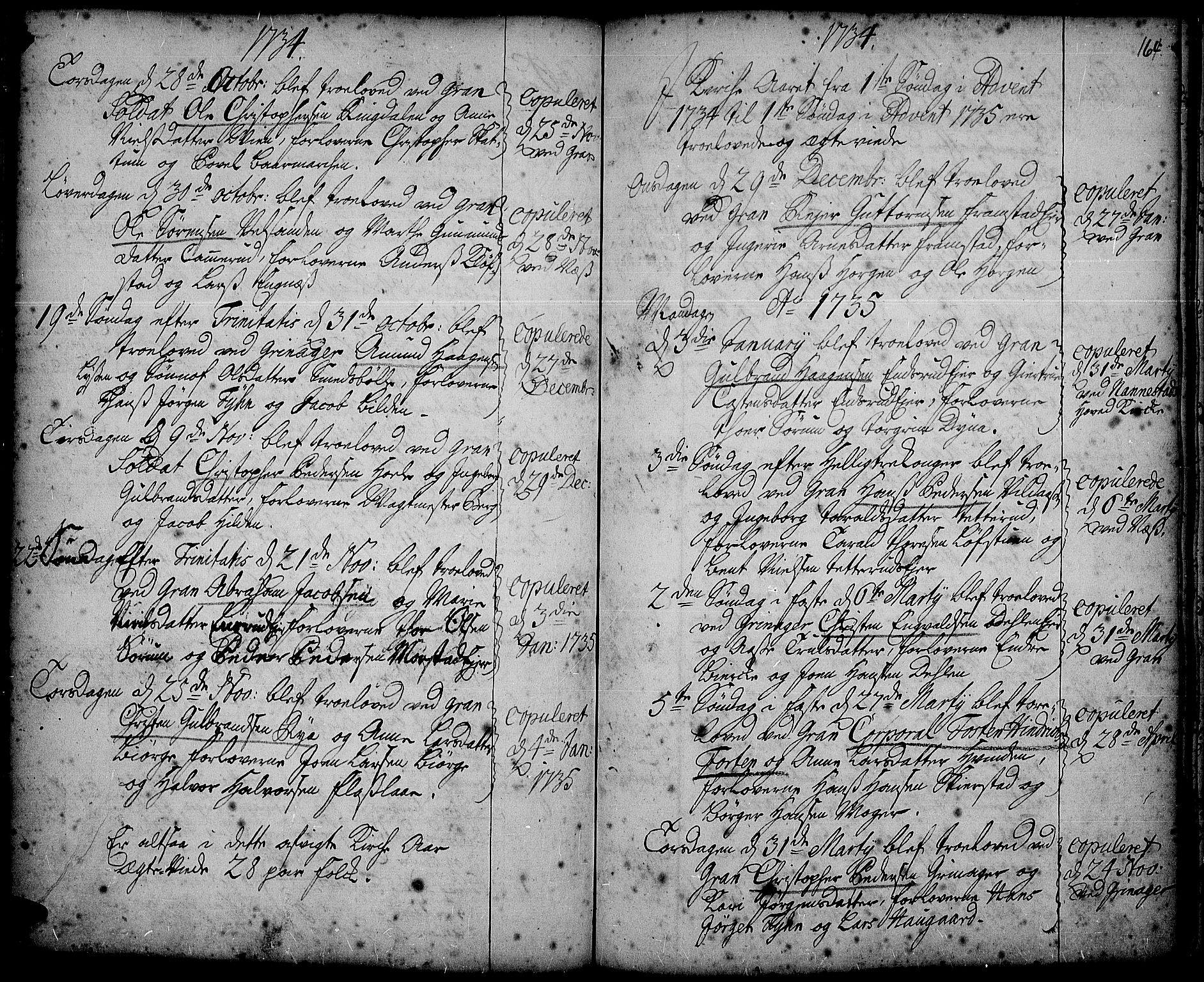 SAH, Gran prestekontor, Ministerialbok nr. 2, 1732-1744, s. 164