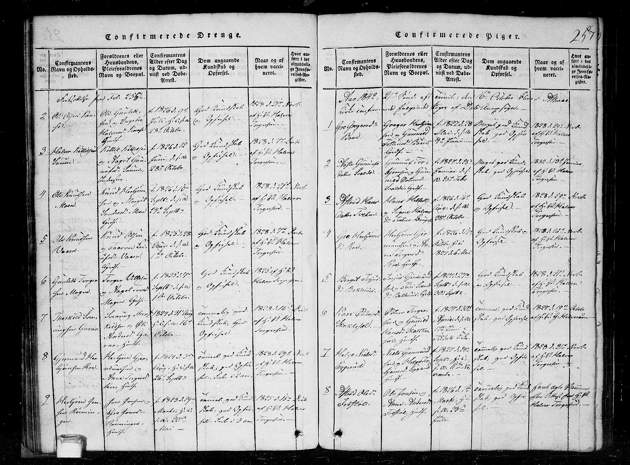 SAKO, Tinn kirkebøker, G/Gc/L0001: Klokkerbok nr. III 1, 1815-1879, s. 257
