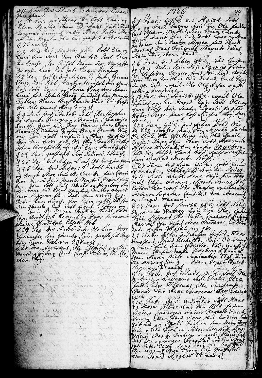 SAT, Ministerialprotokoller, klokkerbøker og fødselsregistre - Sør-Trøndelag, 646/L0603: Ministerialbok nr. 646A01, 1700-1734, s. 44