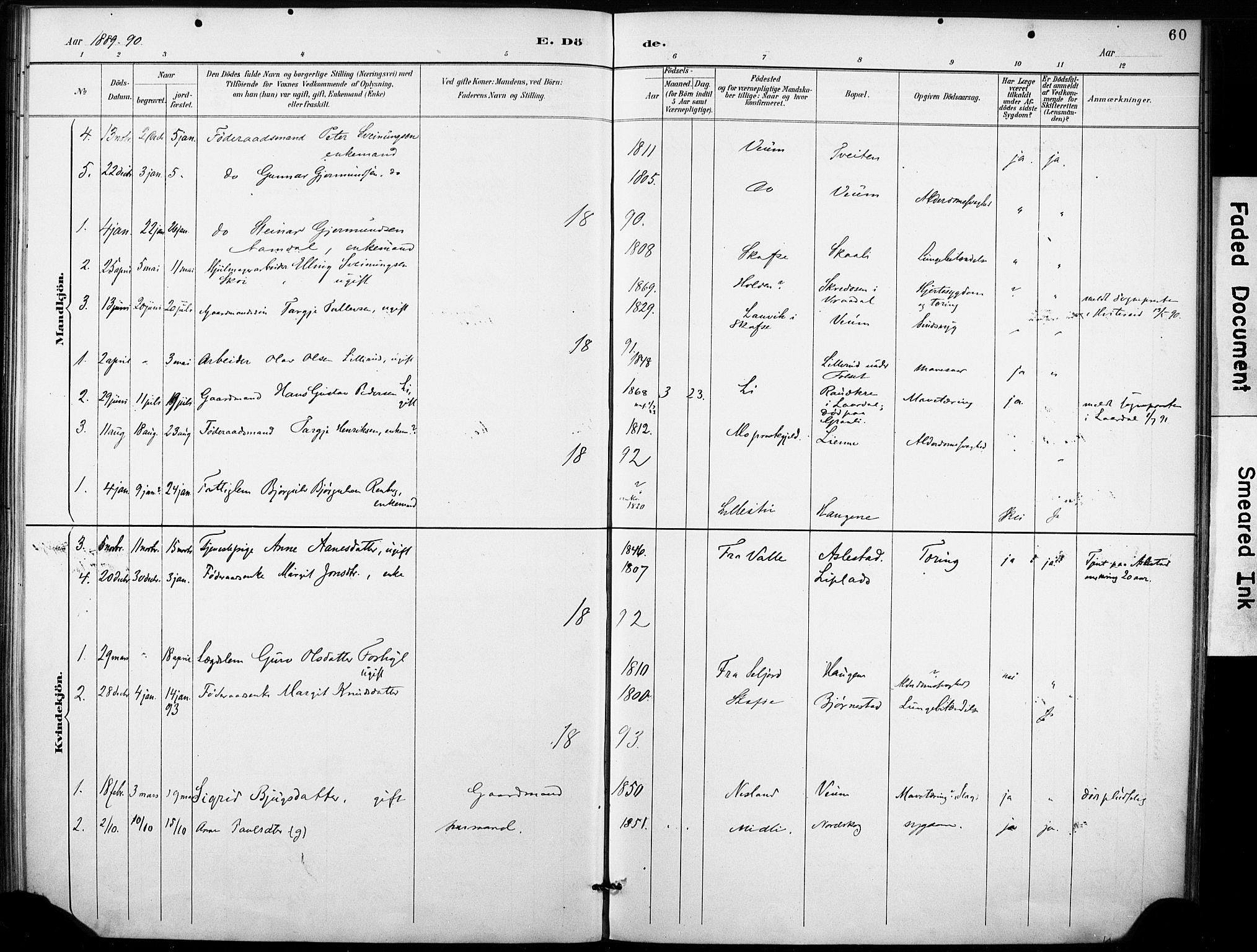SAKO, Fyresdal kirkebøker, F/Fb/L0003: Ministerialbok nr. II 3, 1887-1903, s. 60