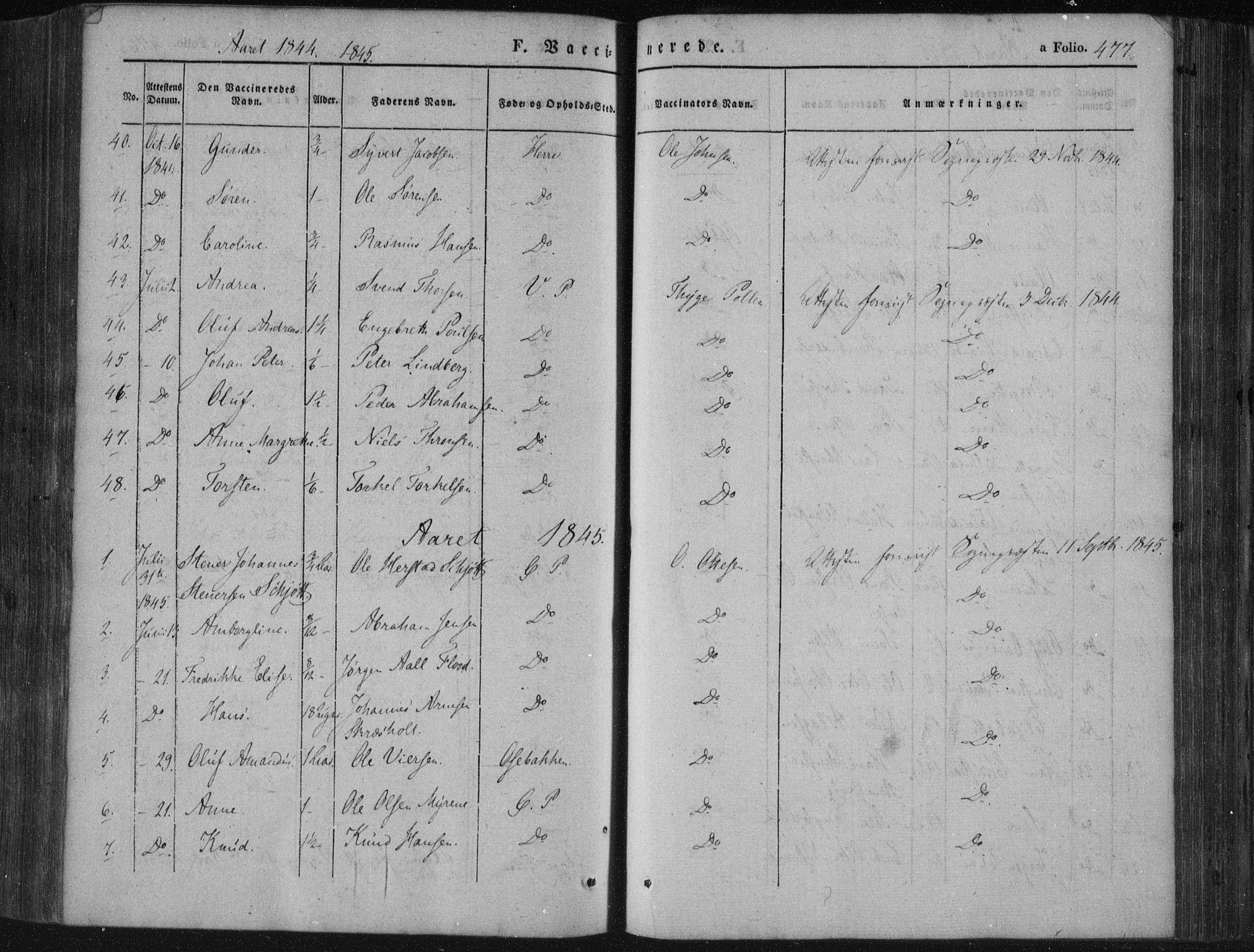 SAKO, Porsgrunn kirkebøker , F/Fa/L0006: Ministerialbok nr. 6, 1841-1857, s. 477