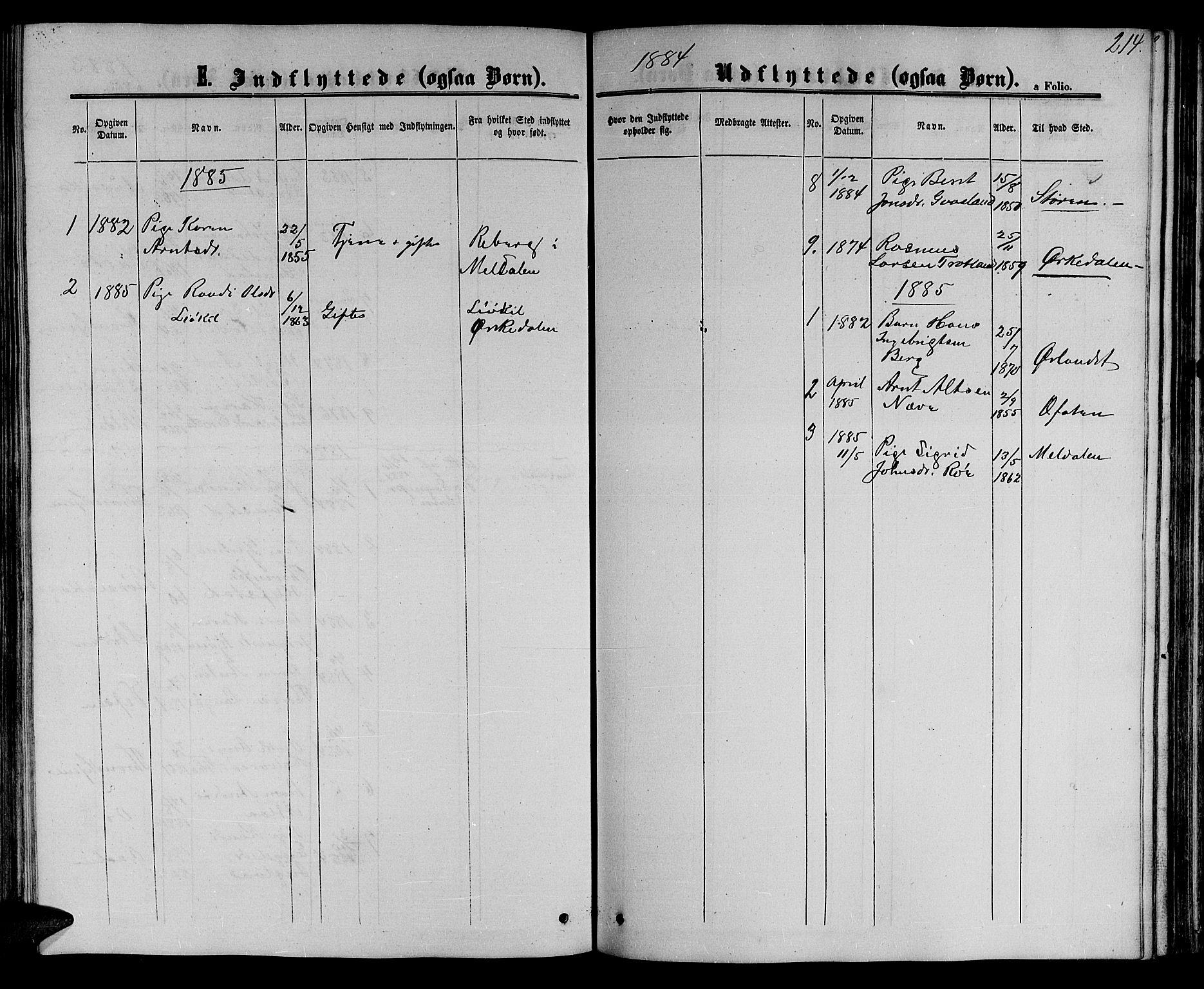 SAT, Ministerialprotokoller, klokkerbøker og fødselsregistre - Sør-Trøndelag, 694/L1131: Klokkerbok nr. 694C03, 1858-1886, s. 214