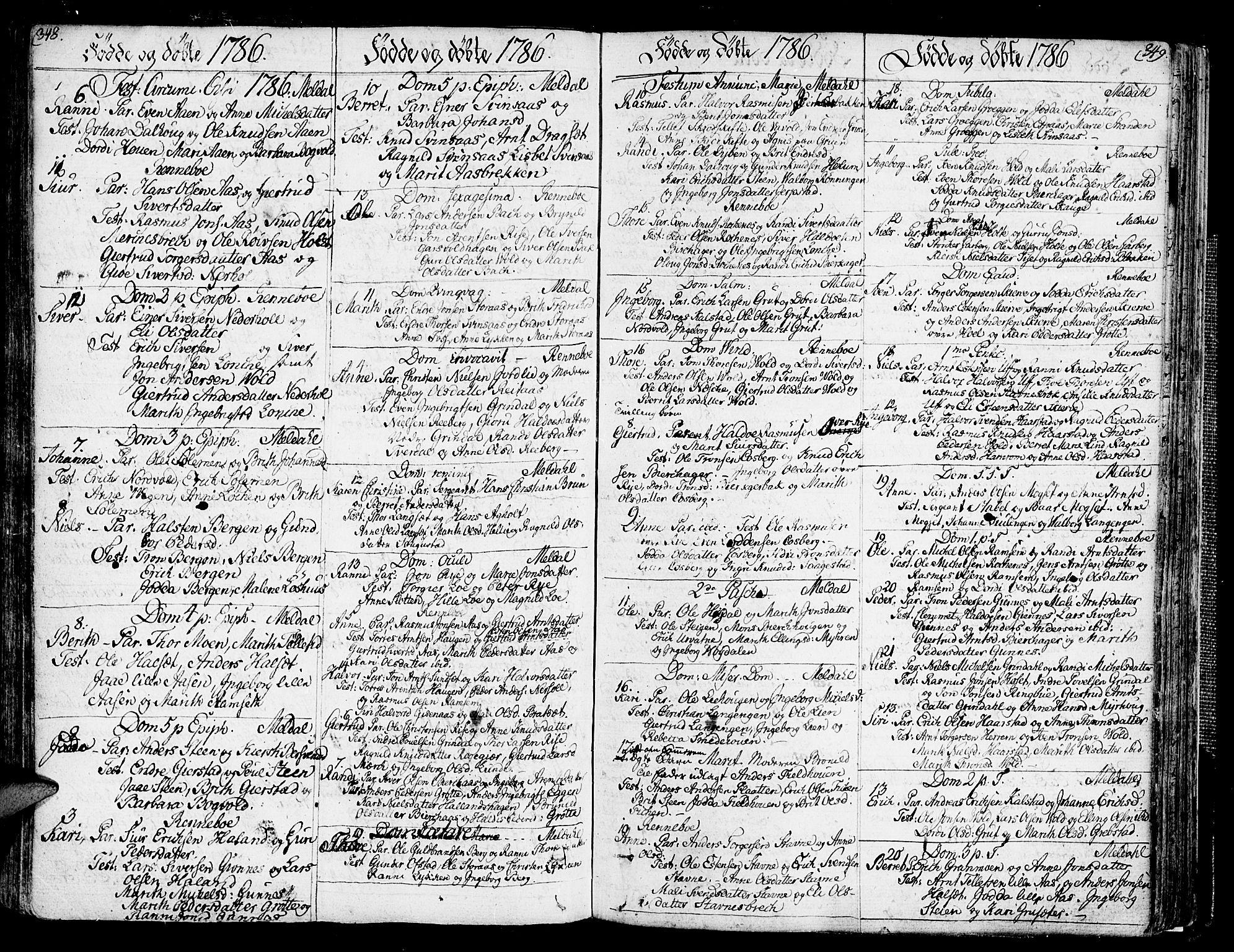 SAT, Ministerialprotokoller, klokkerbøker og fødselsregistre - Sør-Trøndelag, 672/L0852: Ministerialbok nr. 672A05, 1776-1815, s. 348-349