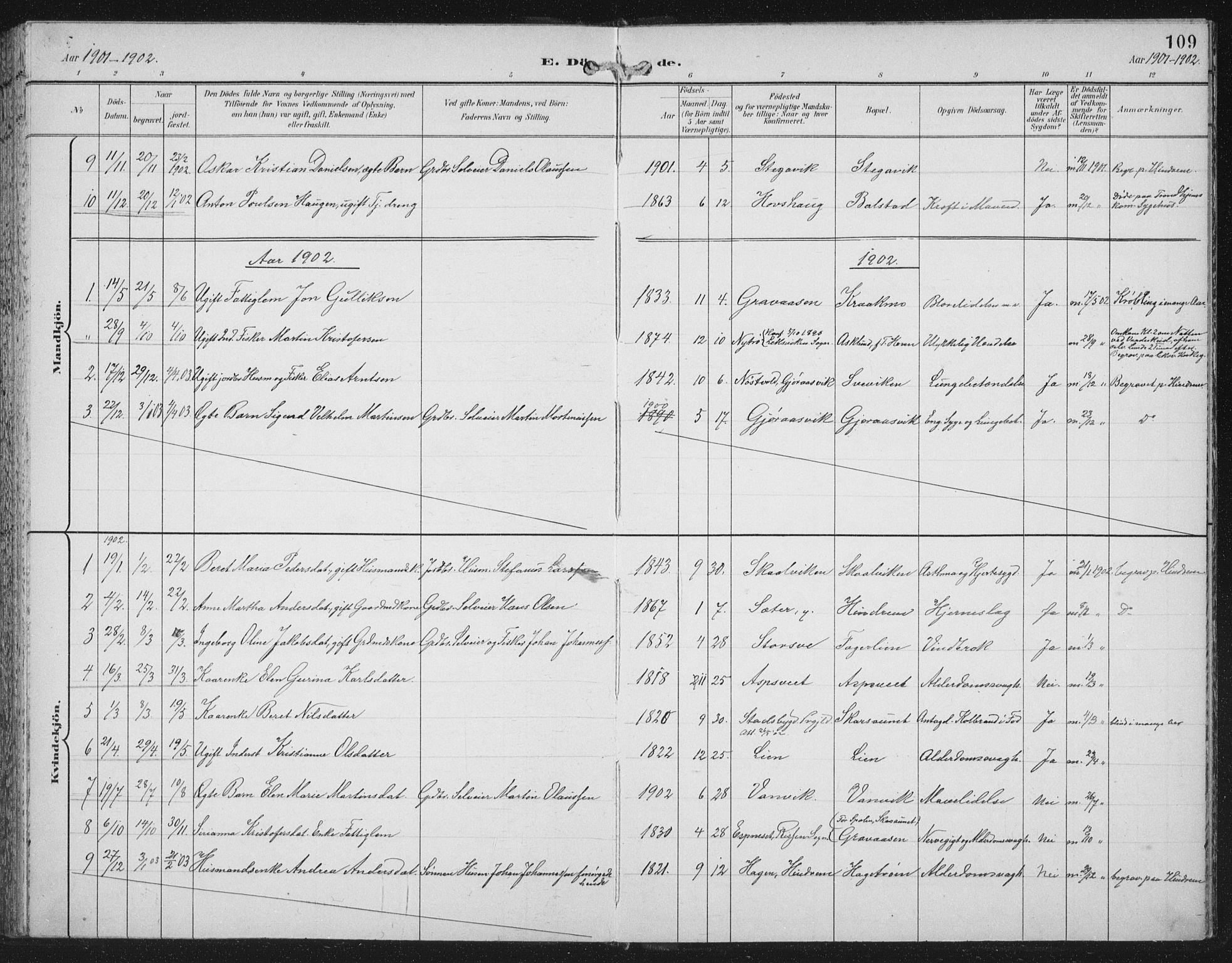 SAT, Ministerialprotokoller, klokkerbøker og fødselsregistre - Nord-Trøndelag, 702/L0024: Ministerialbok nr. 702A02, 1898-1914, s. 109