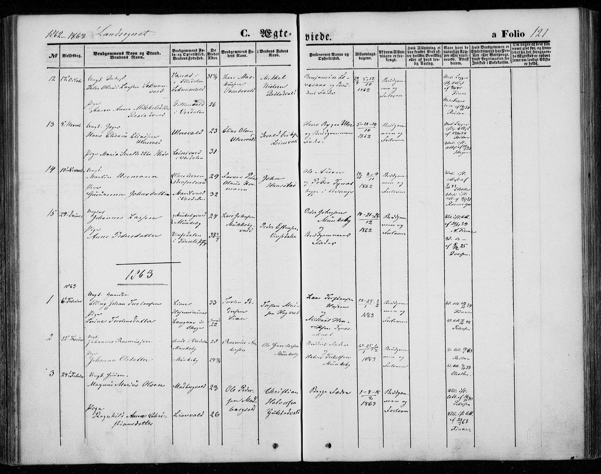 SAT, Ministerialprotokoller, klokkerbøker og fødselsregistre - Nord-Trøndelag, 720/L0184: Ministerialbok nr. 720A02 /2, 1855-1863, s. 121