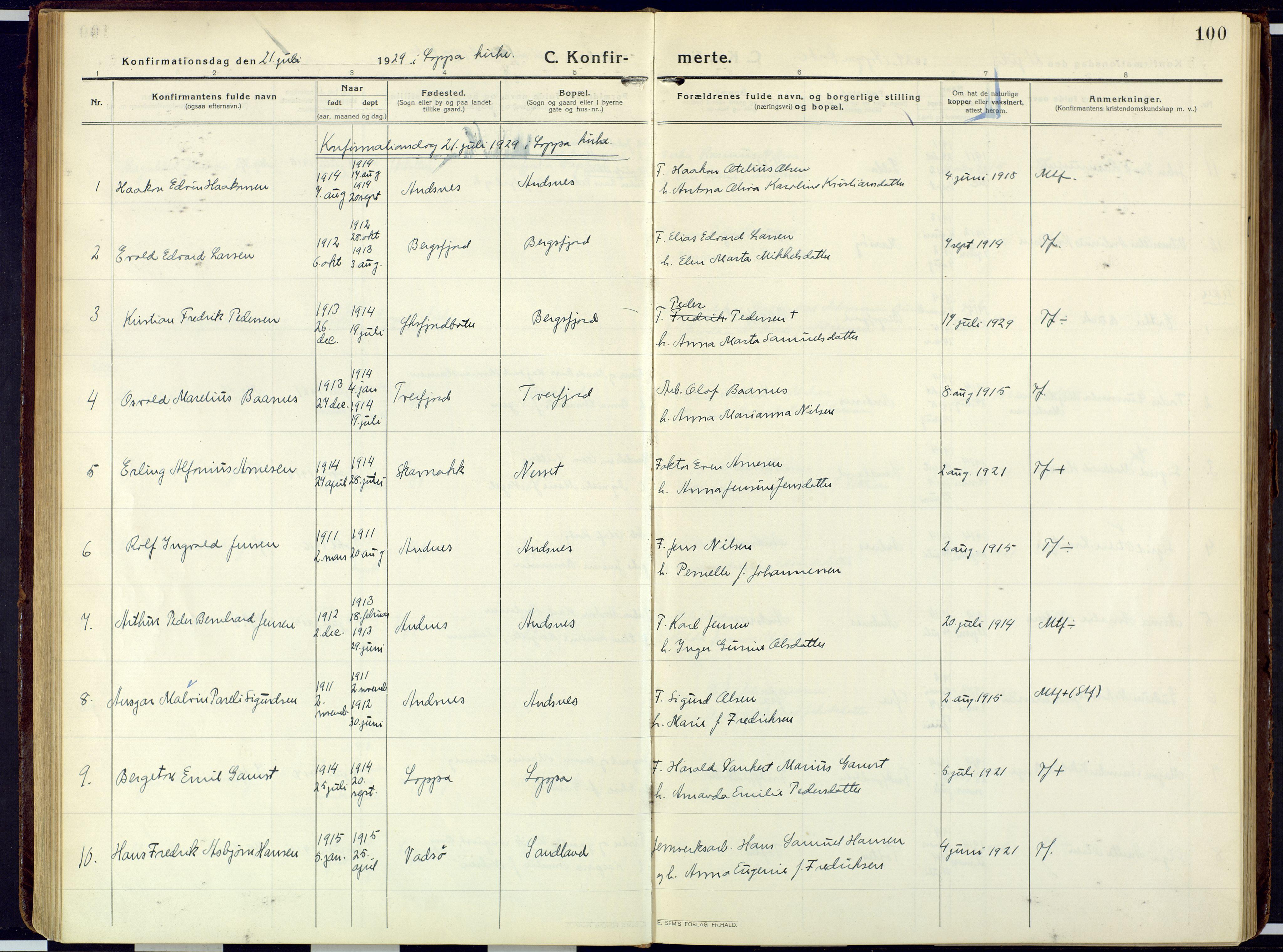 SATØ, Loppa sokneprestkontor, H/Ha/L0013kirke: Ministerialbok nr. 13, 1920-1932, s. 100