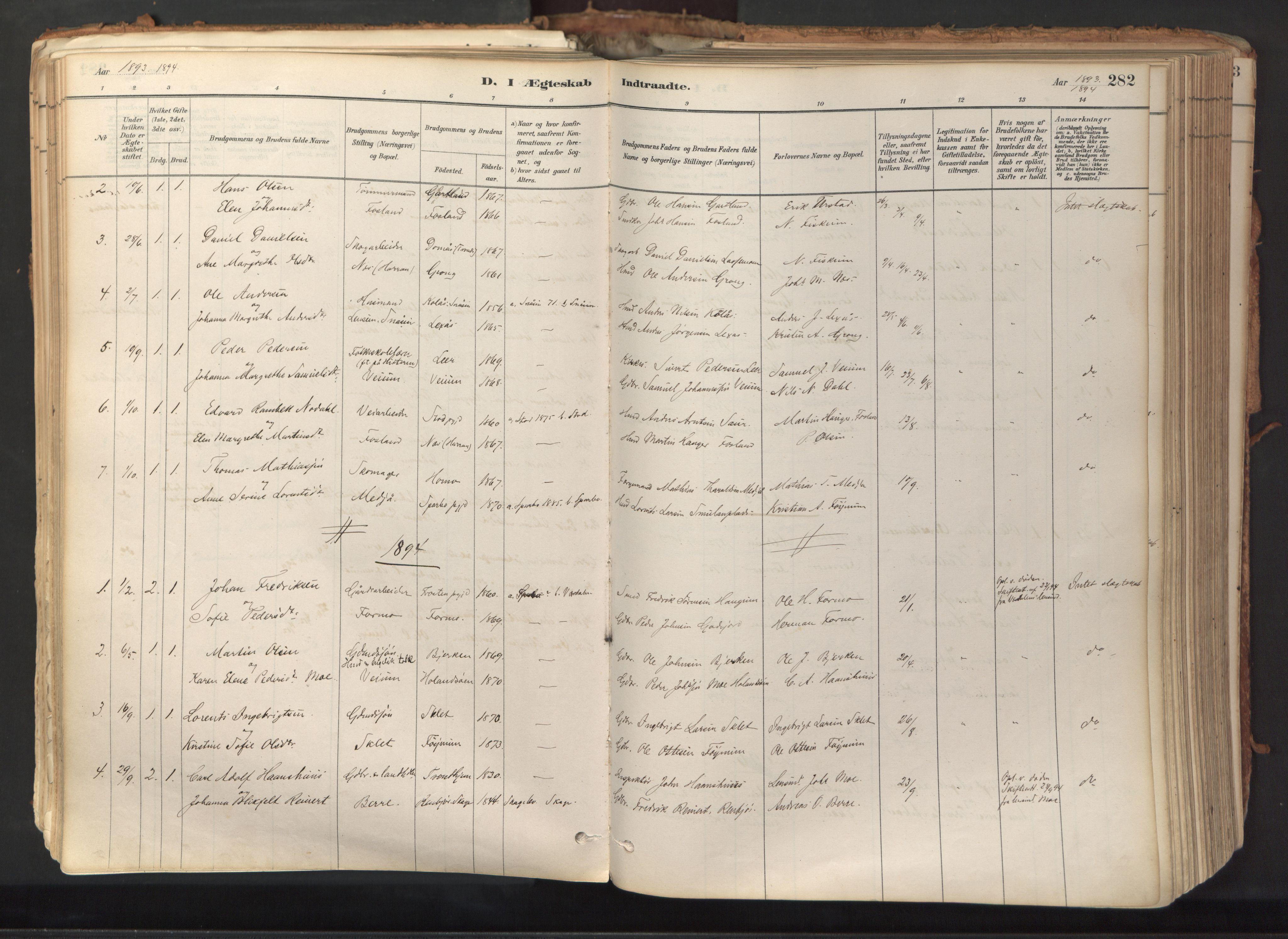 SAT, Ministerialprotokoller, klokkerbøker og fødselsregistre - Nord-Trøndelag, 758/L0519: Ministerialbok nr. 758A04, 1880-1926, s. 282