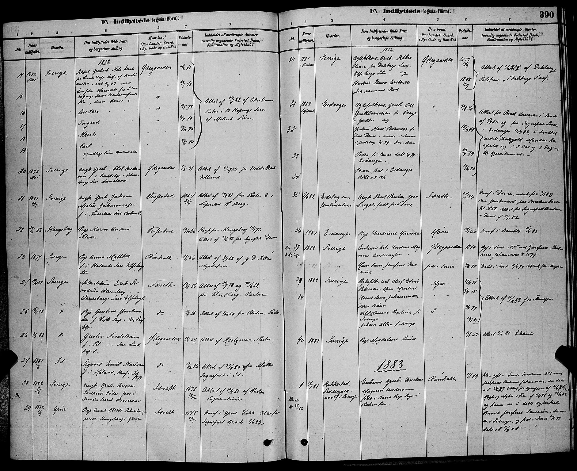 SAKO, Bamble kirkebøker, G/Ga/L0008: Klokkerbok nr. I 8, 1878-1888, s. 390