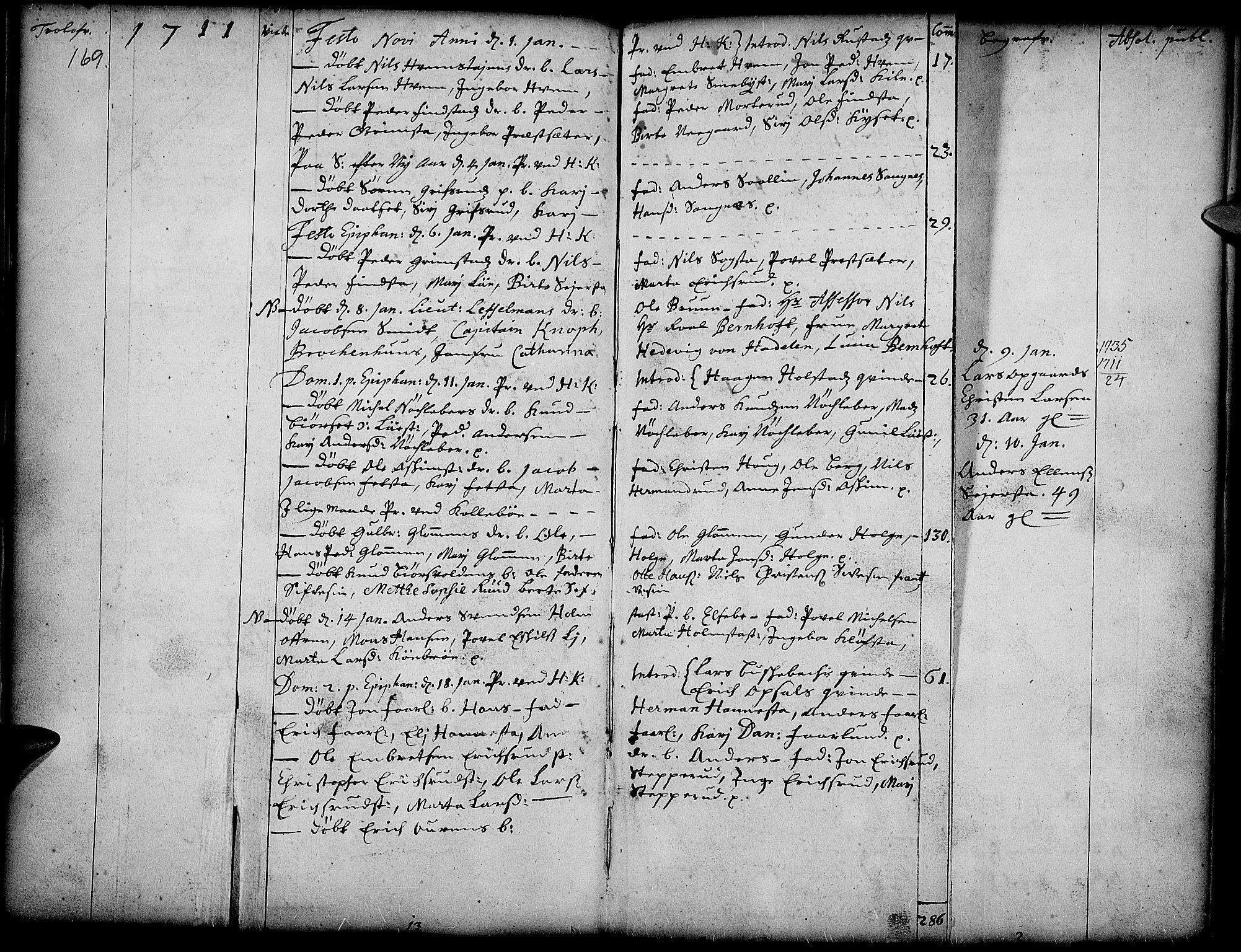 SAH, Toten prestekontor, Ministerialbok nr. 1, 1695-1713, s. 169