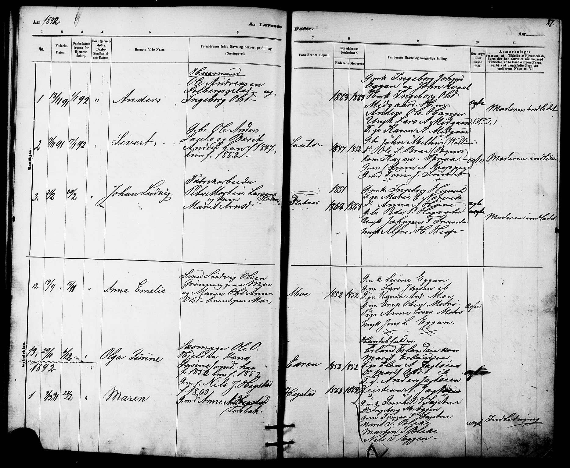 SAT, Ministerialprotokoller, klokkerbøker og fødselsregistre - Sør-Trøndelag, 613/L0395: Klokkerbok nr. 613C03, 1887-1909, s. 27
