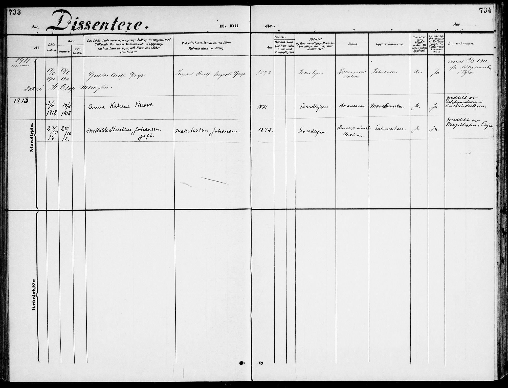 SAT, Ministerialprotokoller, klokkerbøker og fødselsregistre - Sør-Trøndelag, 607/L0320: Ministerialbok nr. 607A04, 1907-1915, s. 733-734