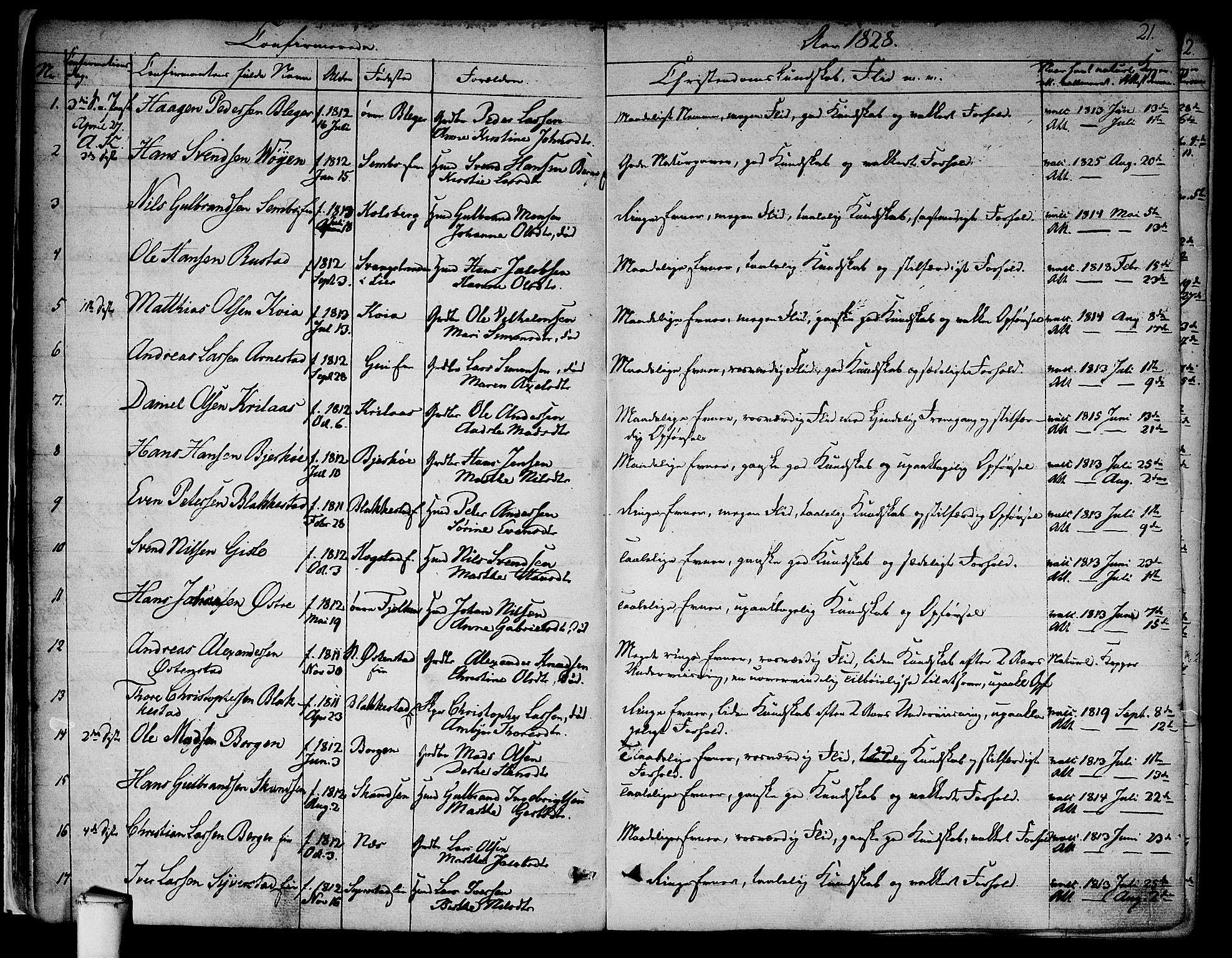 SAO, Asker prestekontor Kirkebøker, F/Fa/L0009: Ministerialbok nr. I 9, 1825-1878, s. 21