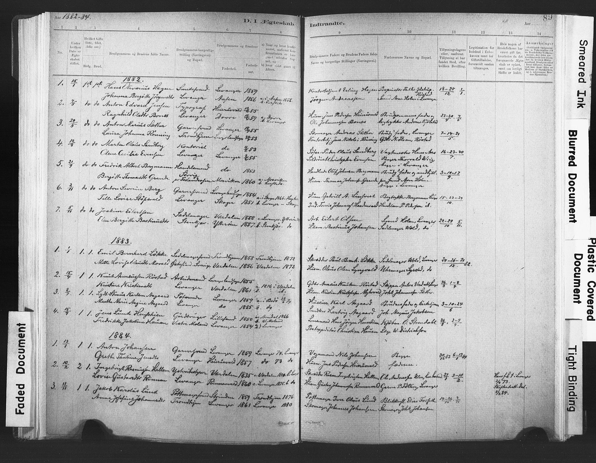 SAT, Ministerialprotokoller, klokkerbøker og fødselsregistre - Nord-Trøndelag, 720/L0189: Ministerialbok nr. 720A05, 1880-1911, s. 89