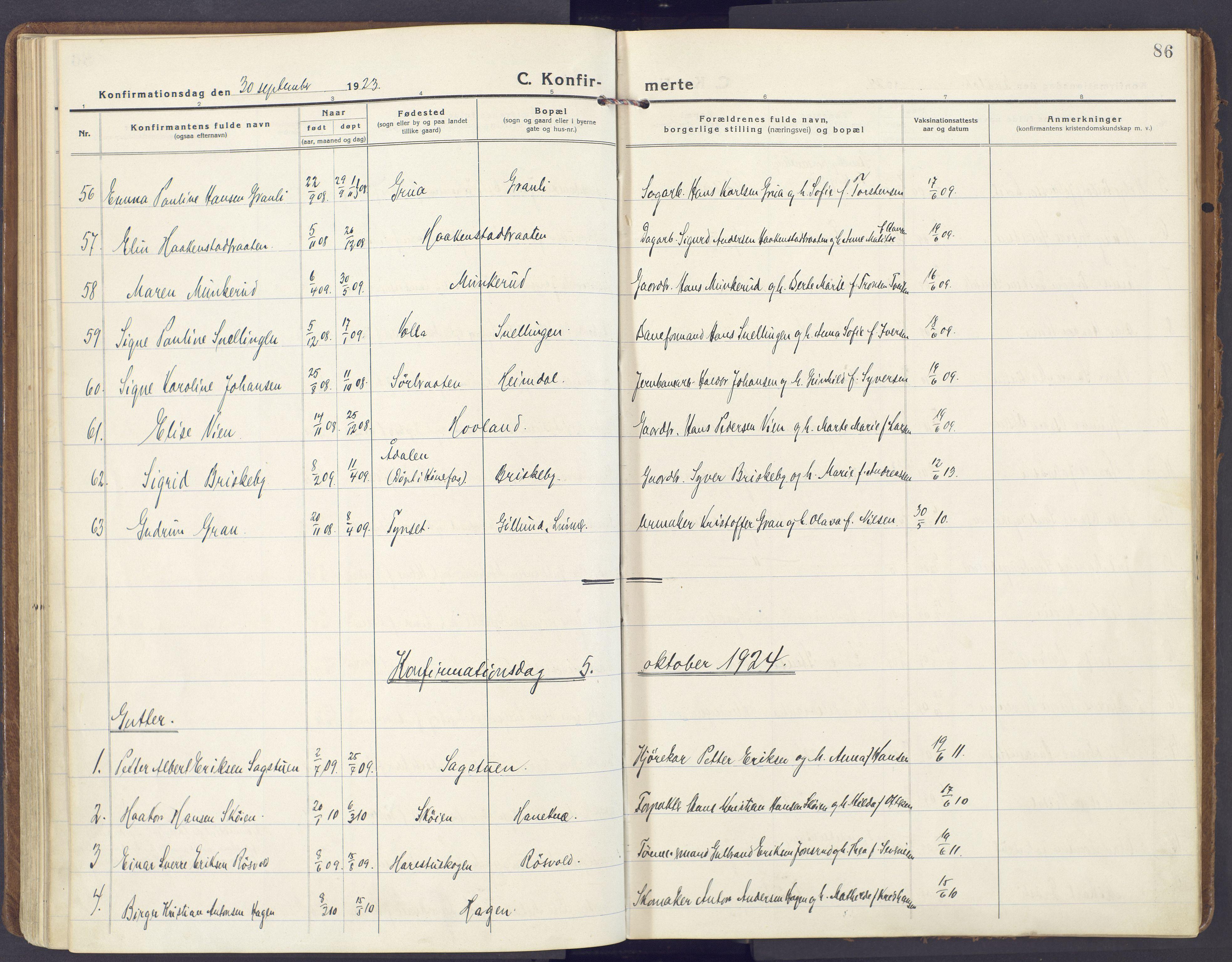 SAH, Lunner prestekontor, H/Ha/Haa/L0002: Ministerialbok nr. 2, 1922-1931, s. 86