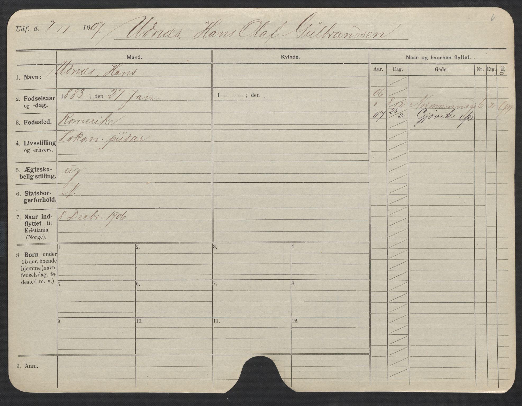SAO, Oslo folkeregister, Registerkort, F/Fa/Fac/L0011: Menn, 1906-1914, s. 501a