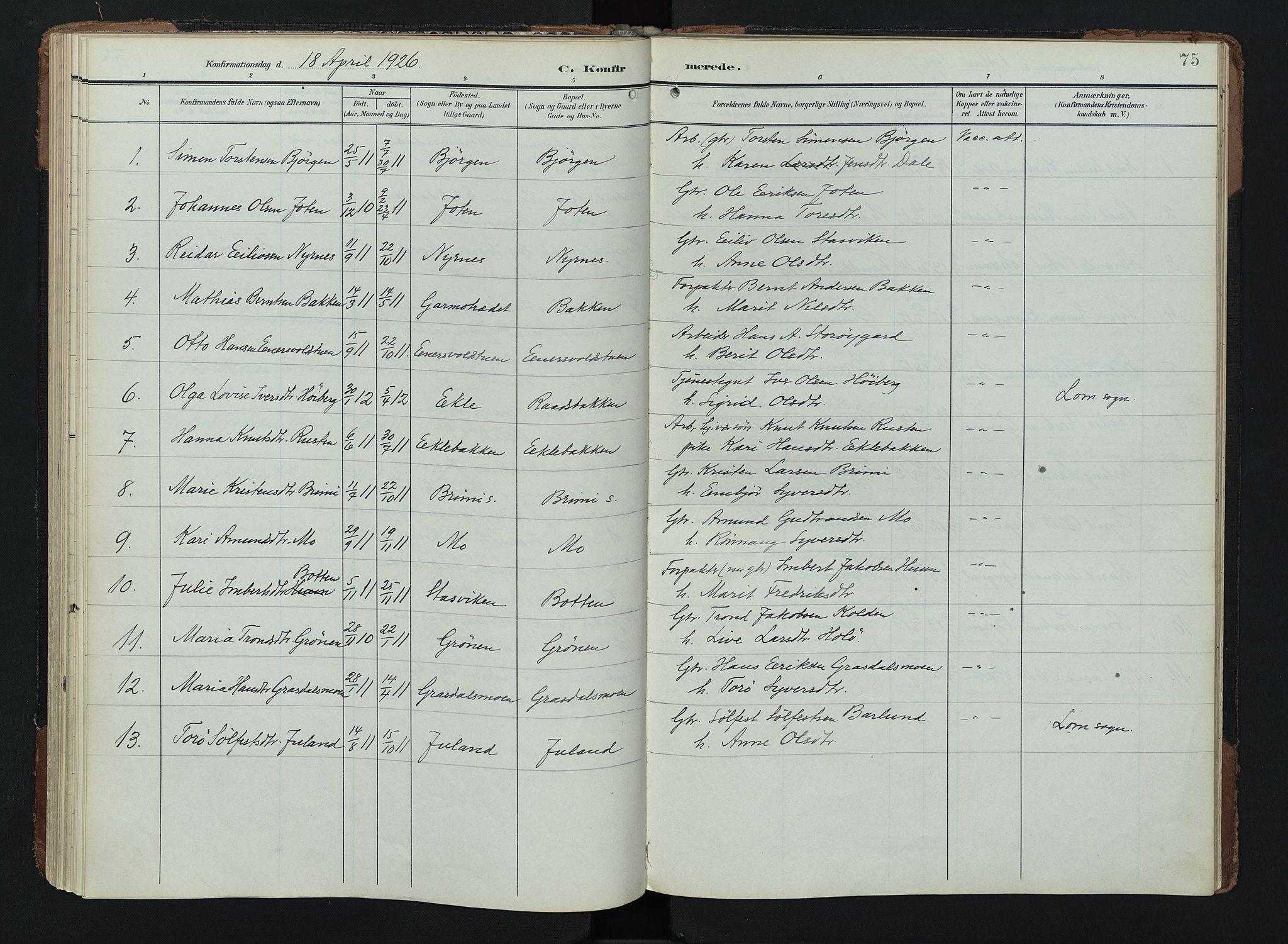 SAH, Lom prestekontor, K/L0011: Ministerialbok nr. 11, 1904-1928, s. 75