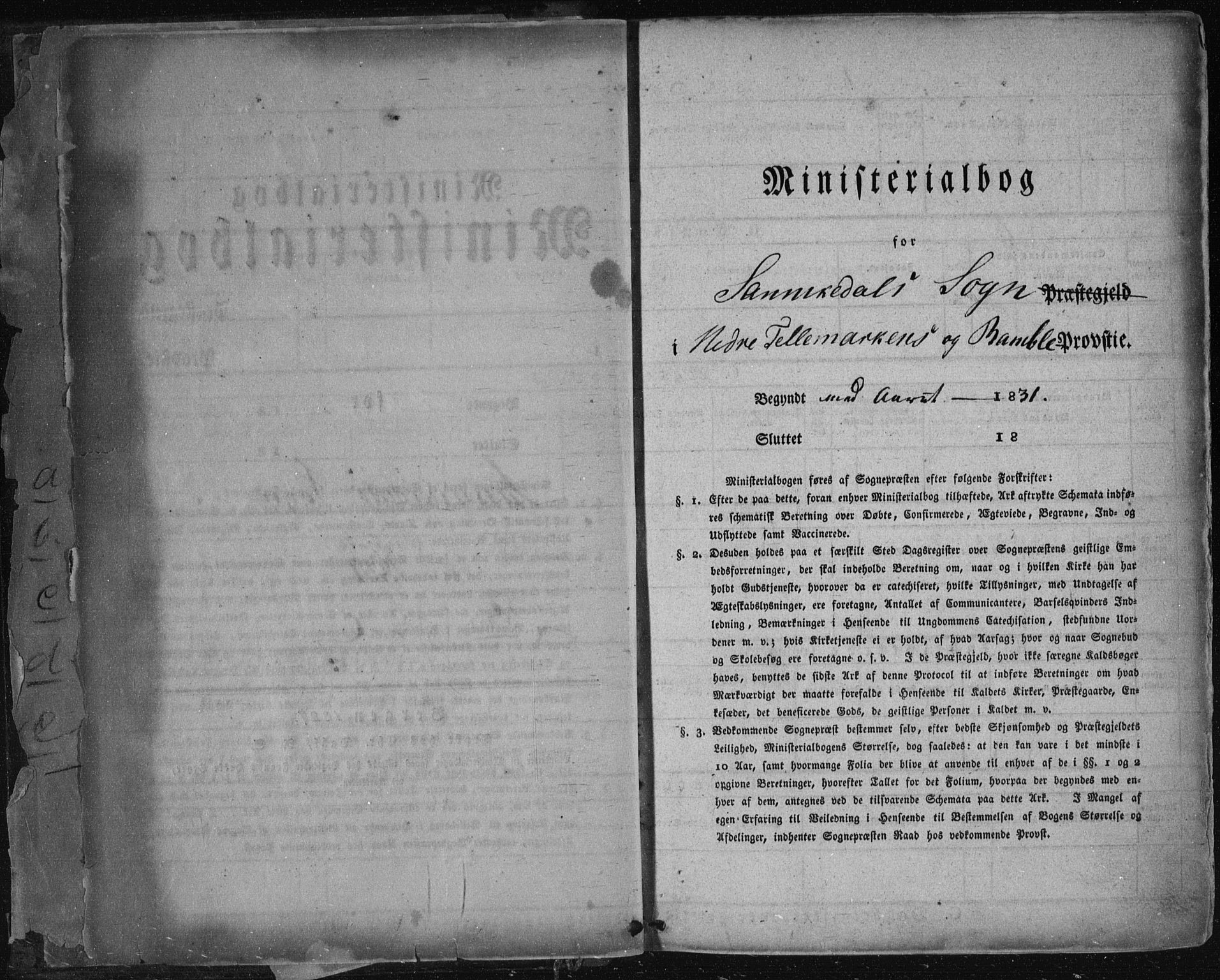 SAKO, Sannidal kirkebøker, F/Fa/L0007: Ministerialbok nr. 7, 1831-1854