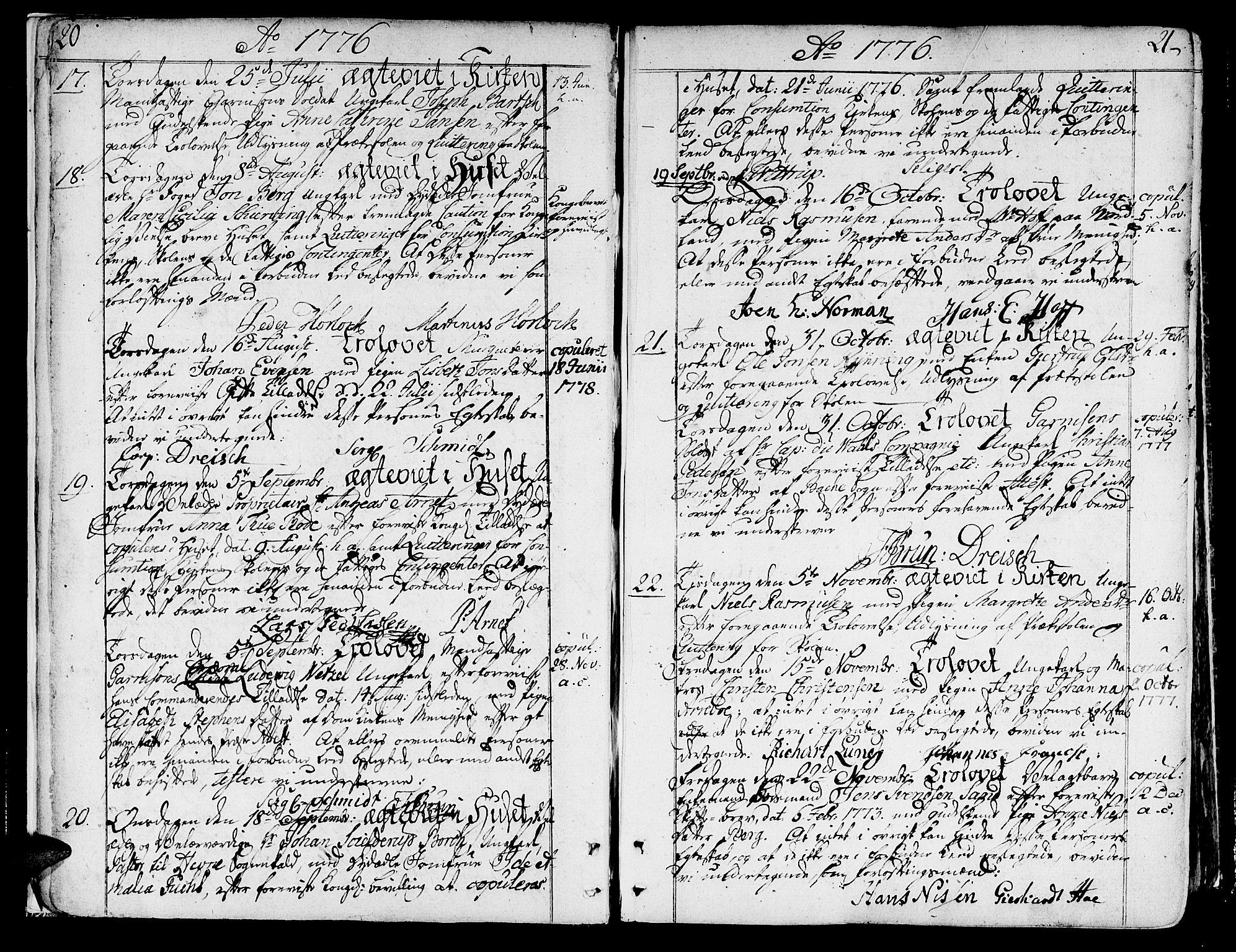 SAT, Ministerialprotokoller, klokkerbøker og fødselsregistre - Sør-Trøndelag, 602/L0105: Ministerialbok nr. 602A03, 1774-1814, s. 20-21