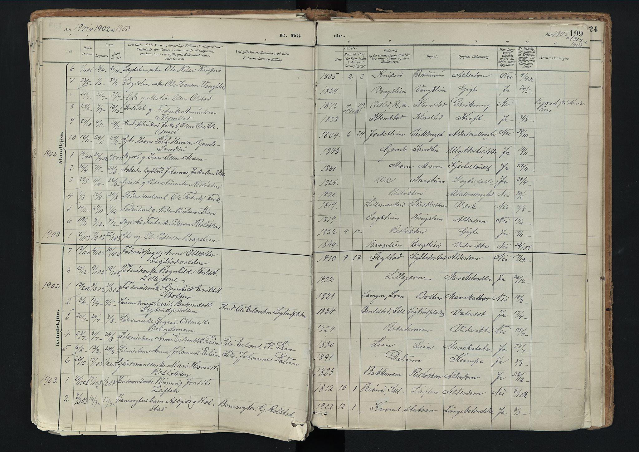 SAH, Nord-Fron prestekontor, Ministerialbok nr. 3, 1884-1914, s. 199