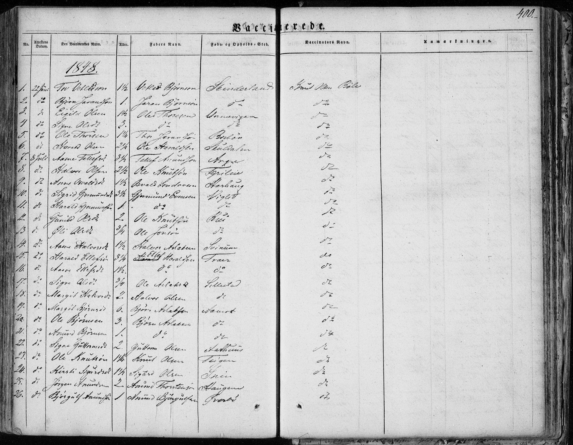 SAKO, Seljord kirkebøker, F/Fa/L0011: Ministerialbok nr. I 11, 1831-1849, s. 400