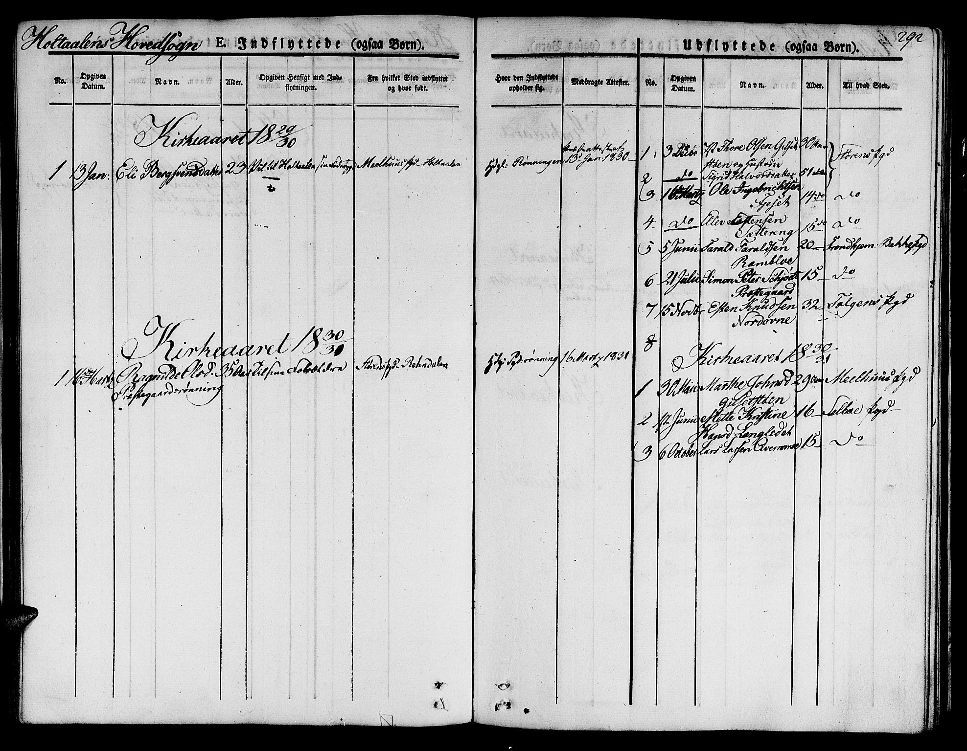 SAT, Ministerialprotokoller, klokkerbøker og fødselsregistre - Sør-Trøndelag, 685/L0960: Ministerialbok nr. 685A05 /1, 1829-1845, s. 292