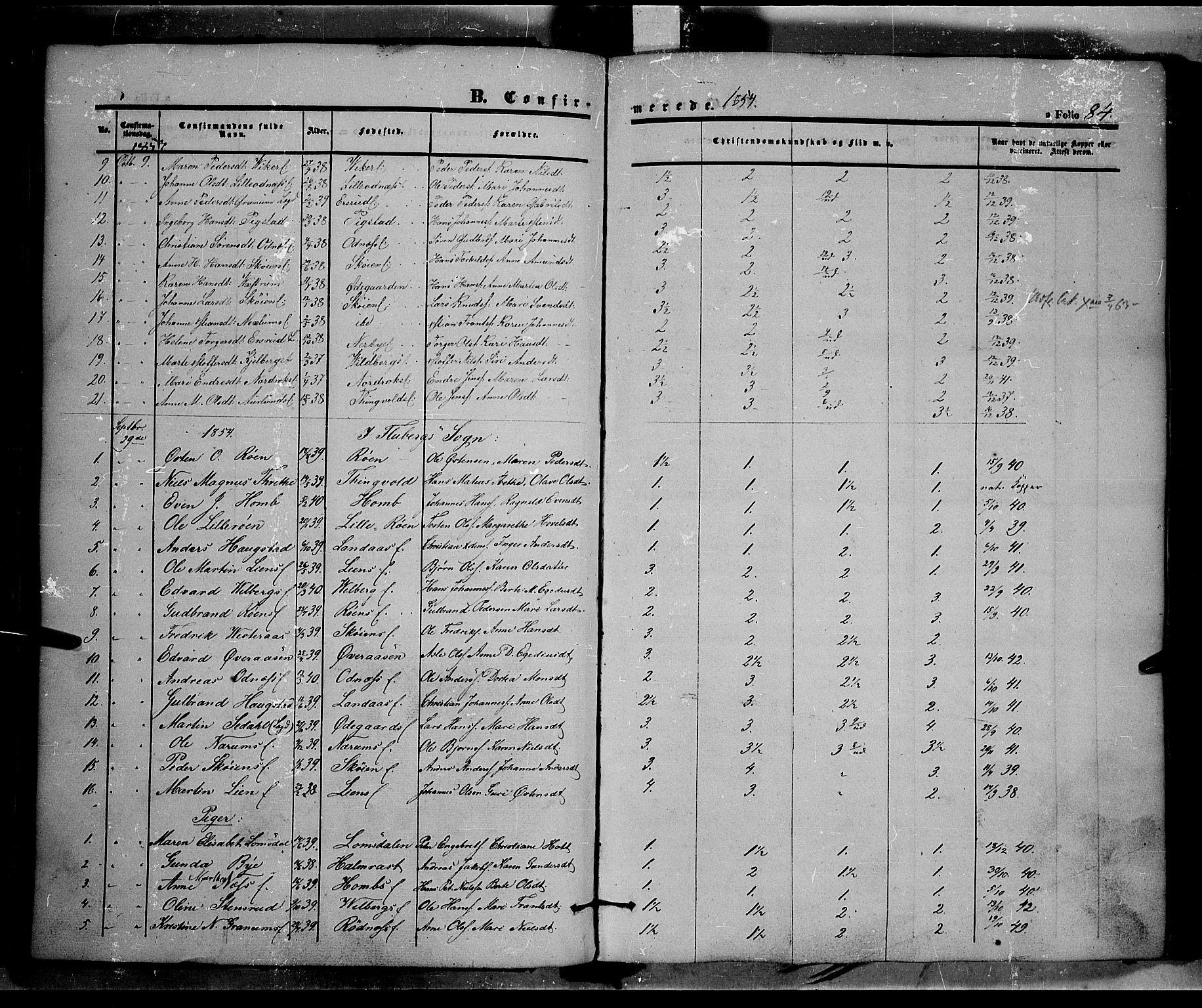 SAH, Land prestekontor, Ministerialbok nr. 9, 1847-1859, s. 84