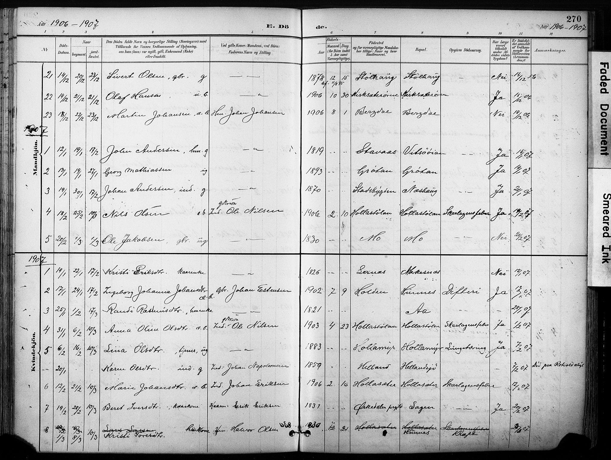 SAT, Ministerialprotokoller, klokkerbøker og fødselsregistre - Sør-Trøndelag, 630/L0497: Ministerialbok nr. 630A10, 1896-1910, s. 270