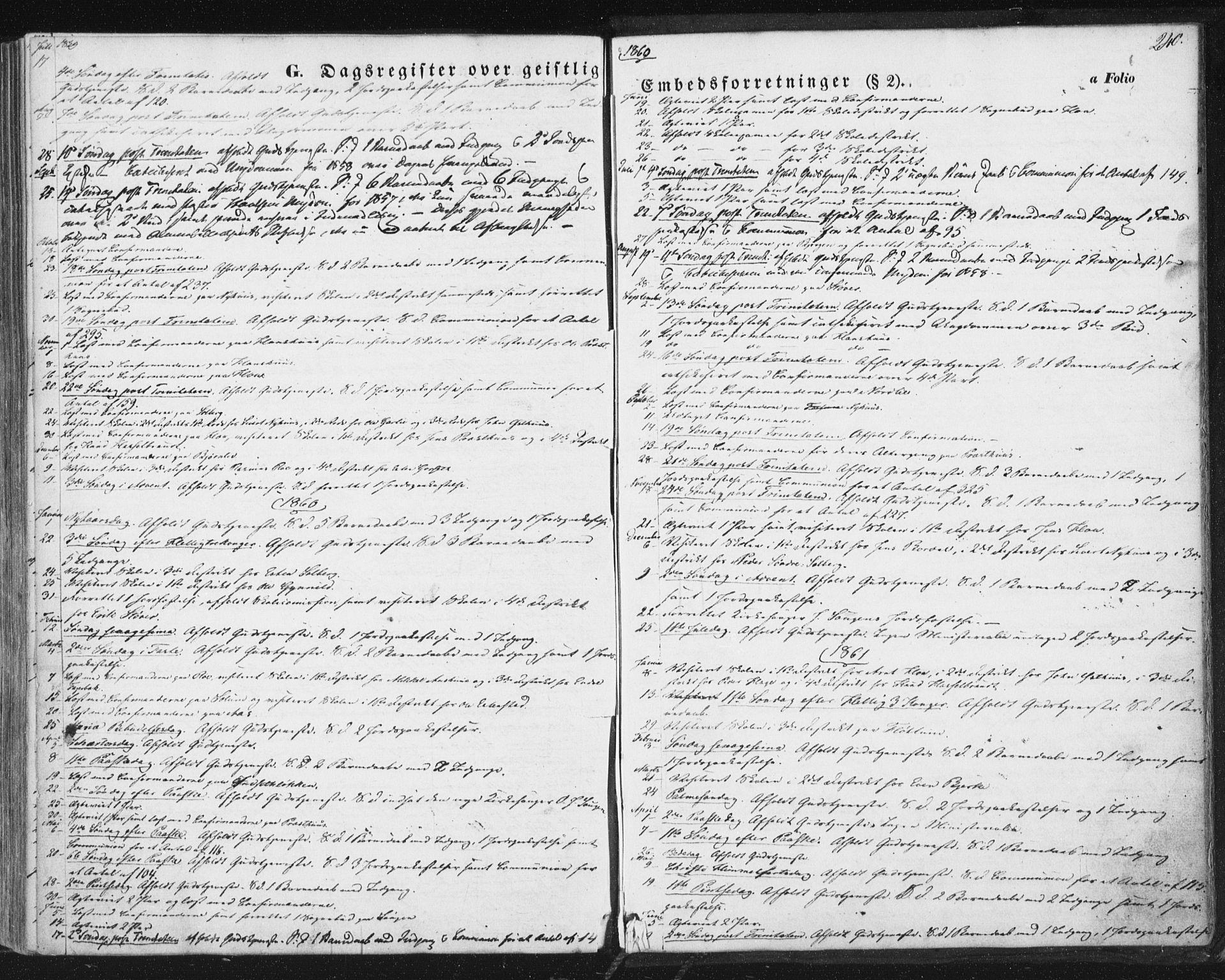 SAT, Ministerialprotokoller, klokkerbøker og fødselsregistre - Sør-Trøndelag, 689/L1038: Ministerialbok nr. 689A03, 1848-1872, s. 240