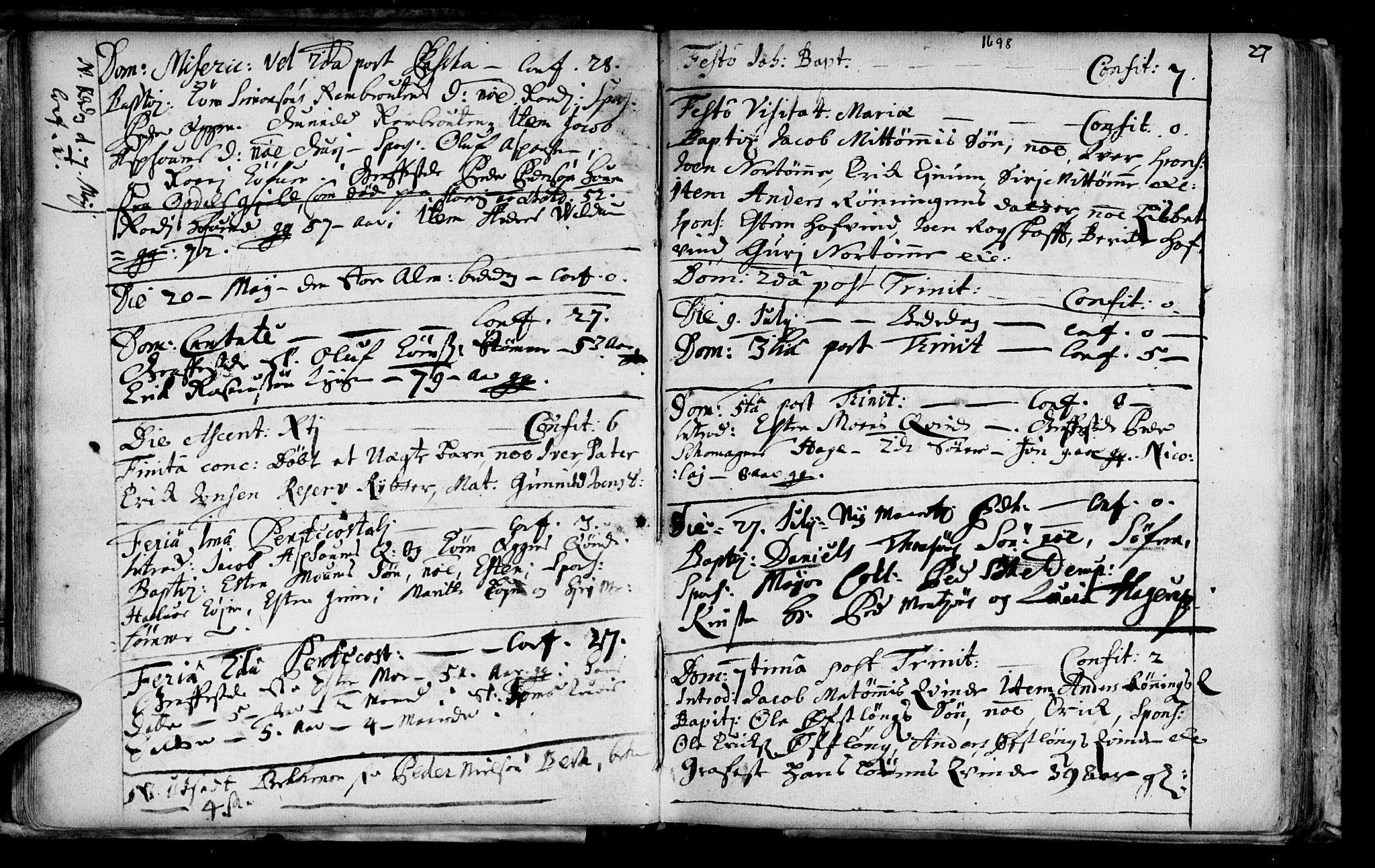 SAT, Ministerialprotokoller, klokkerbøker og fødselsregistre - Sør-Trøndelag, 692/L1101: Ministerialbok nr. 692A01, 1690-1746, s. 27