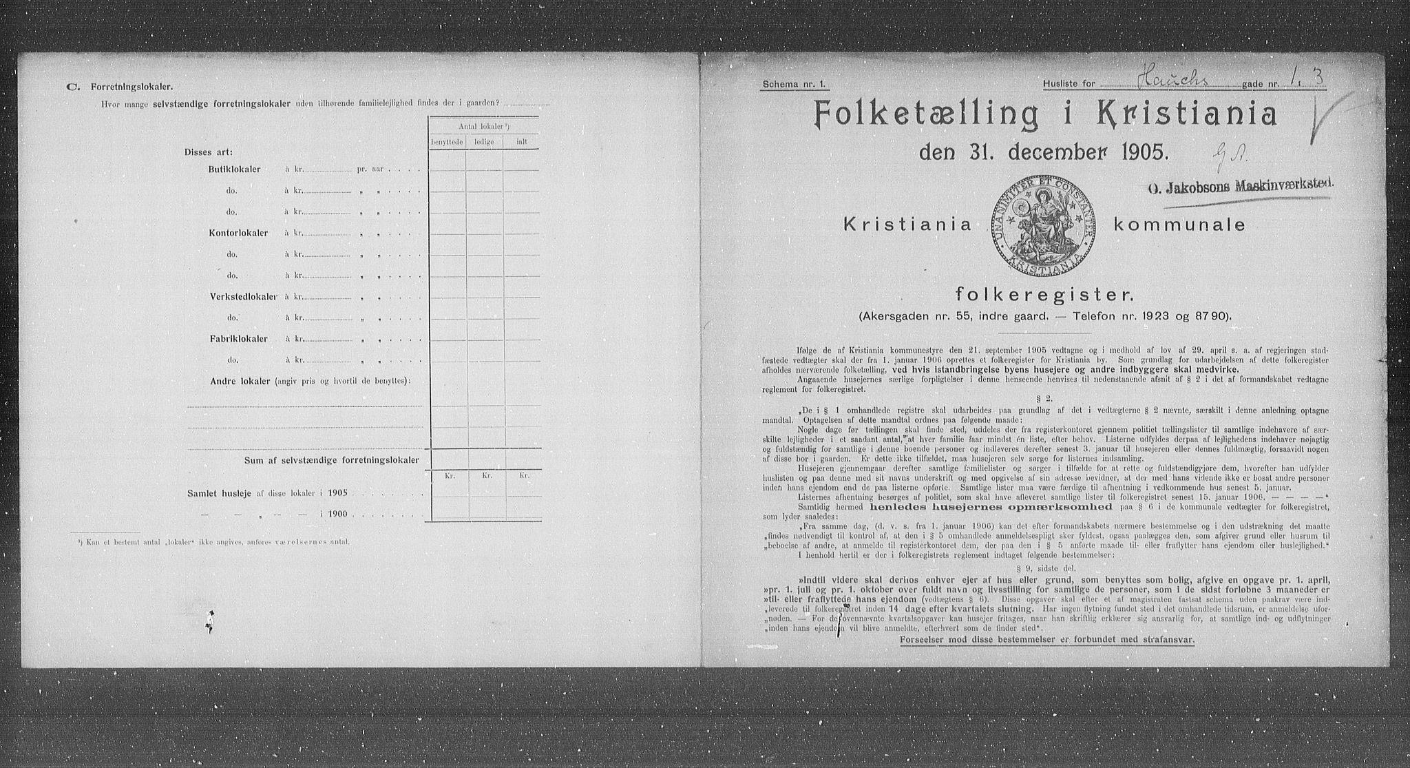 OBA, Kommunal folketelling 1905 for Kristiania kjøpstad, 1905, s. 18217