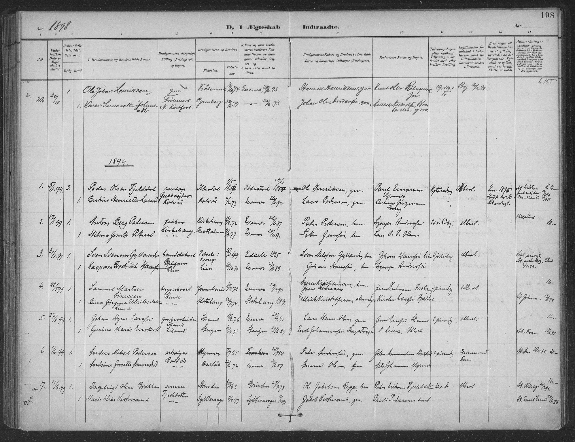 SAT, Ministerialprotokoller, klokkerbøker og fødselsregistre - Nordland, 863/L0899: Ministerialbok nr. 863A11, 1897-1906, s. 198
