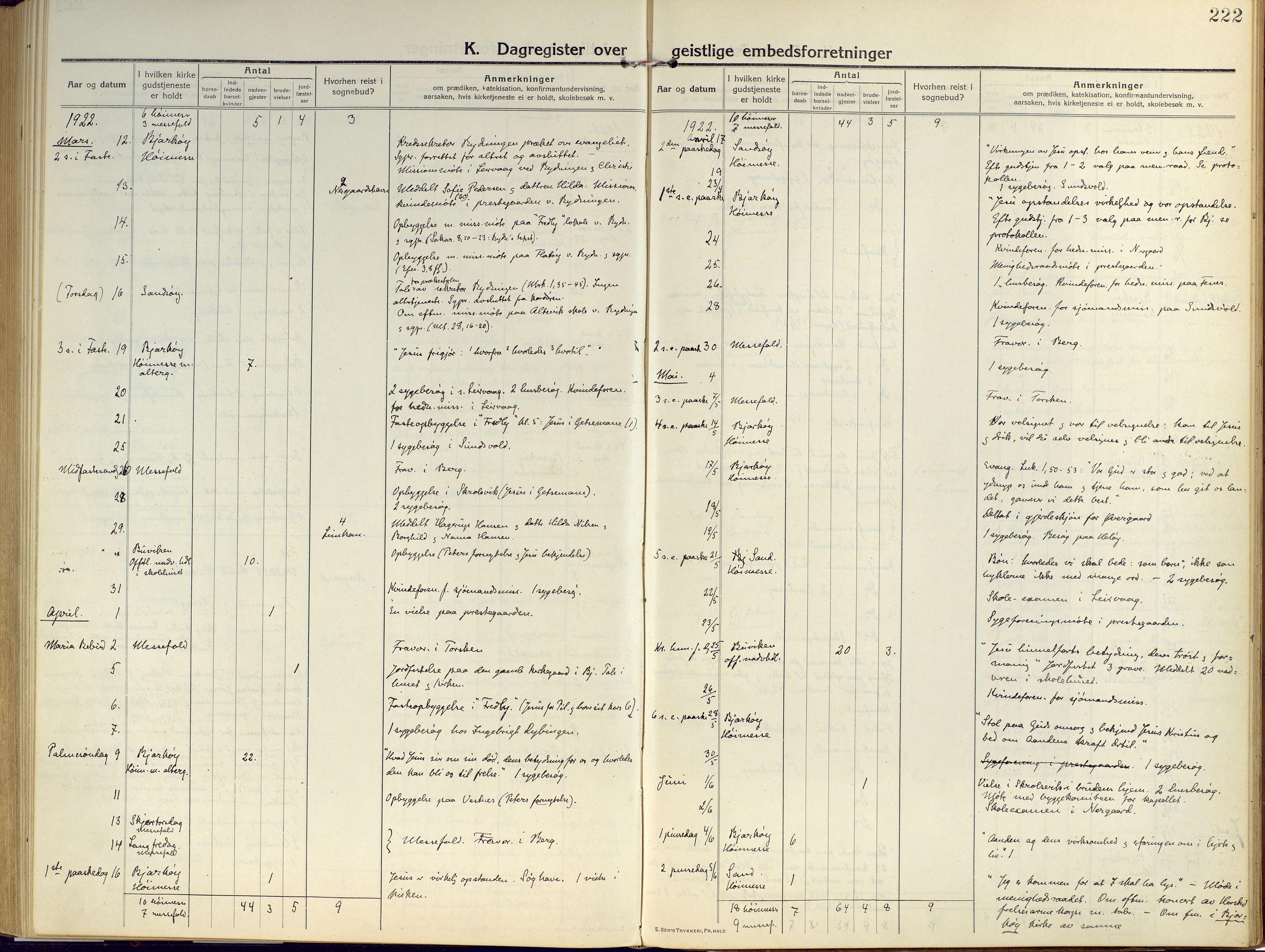 SATØ, Sand/Bjarkøy sokneprestkontor, I/Ia/Iaa/L0006kirke: Ministerialbok nr. 6, 1915-1929, s. 222