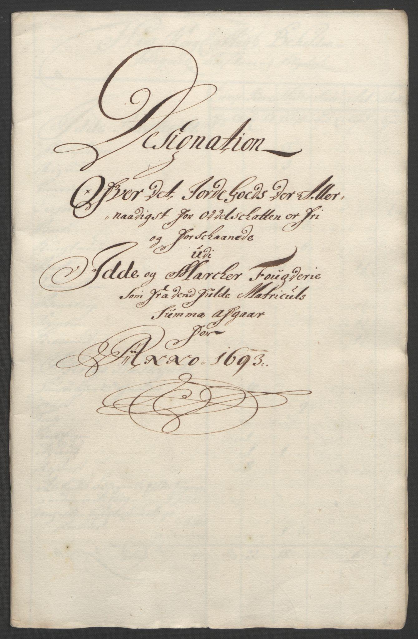 RA, Rentekammeret inntil 1814, Reviderte regnskaper, Fogderegnskap, R01/L0011: Fogderegnskap Idd og Marker, 1692-1693, s. 321