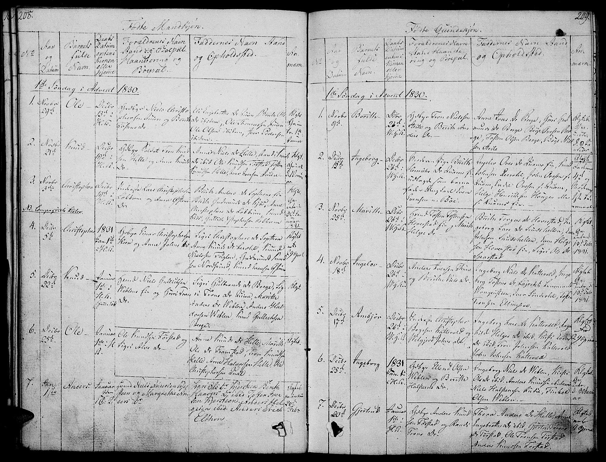 SAH, Vang prestekontor, Valdres, Ministerialbok nr. 3, 1809-1831, s. 208-209
