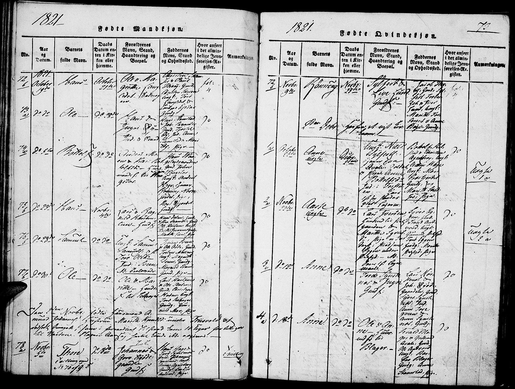 SAH, Lom prestekontor, K/L0004: Ministerialbok nr. 4, 1815-1825, s. 73