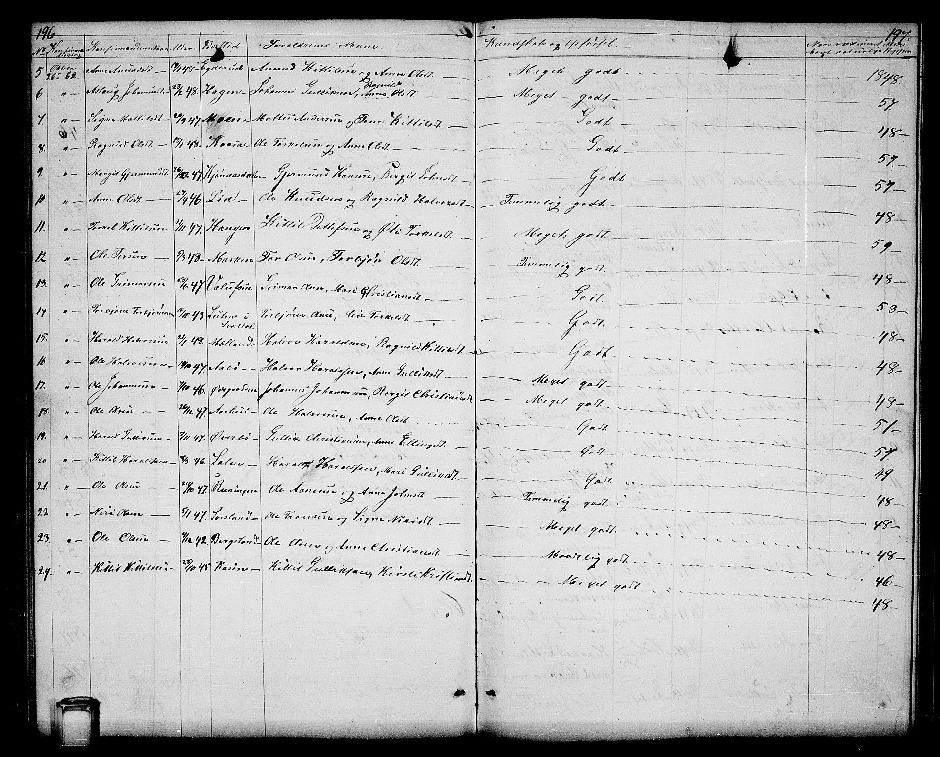 SAKO, Hjartdal kirkebøker, G/Ga/L0002: Klokkerbok nr. I 2, 1854-1888, s. 196-197