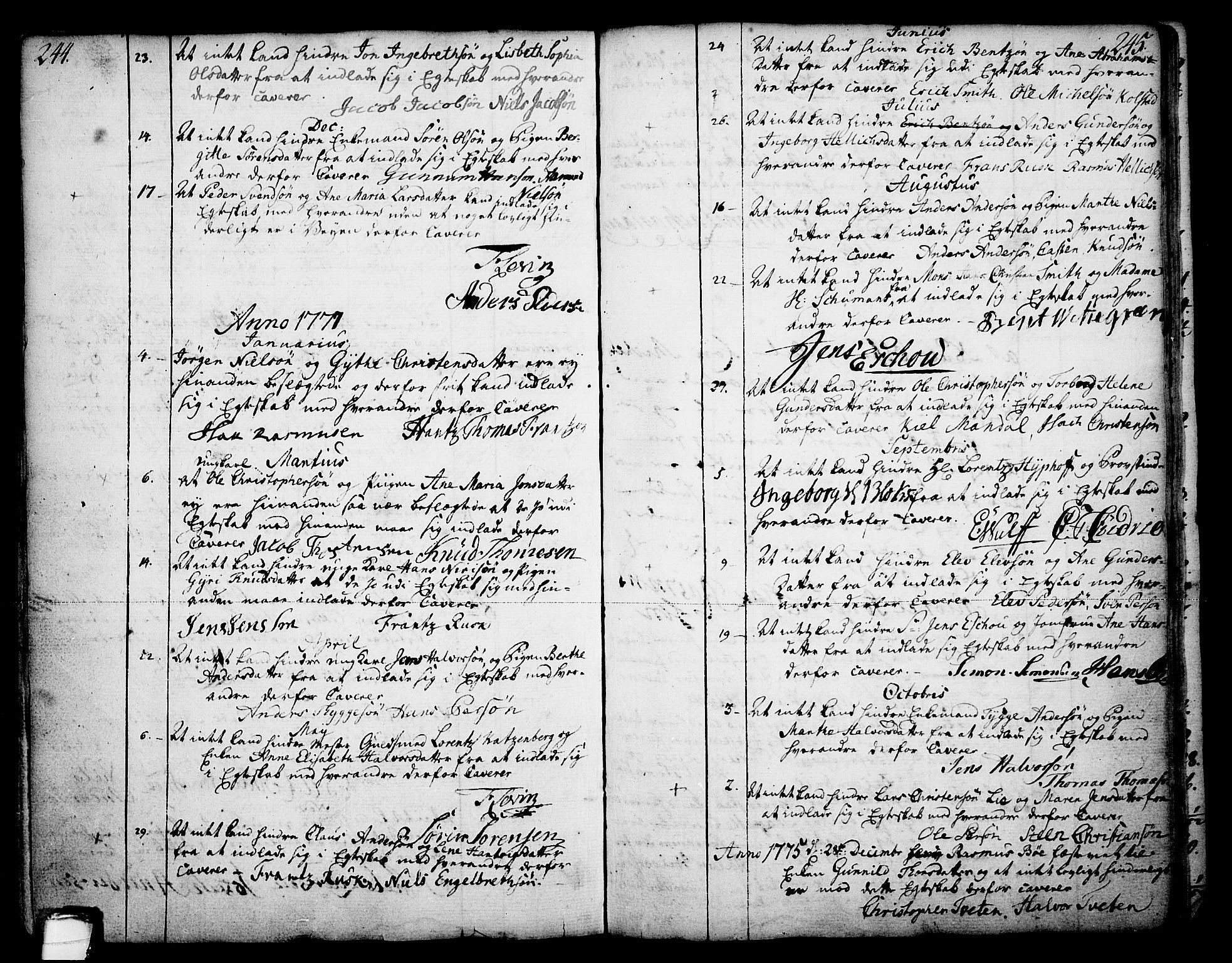 SAKO, Skien kirkebøker, F/Fa/L0003: Ministerialbok nr. 3, 1755-1791, s. 244-245