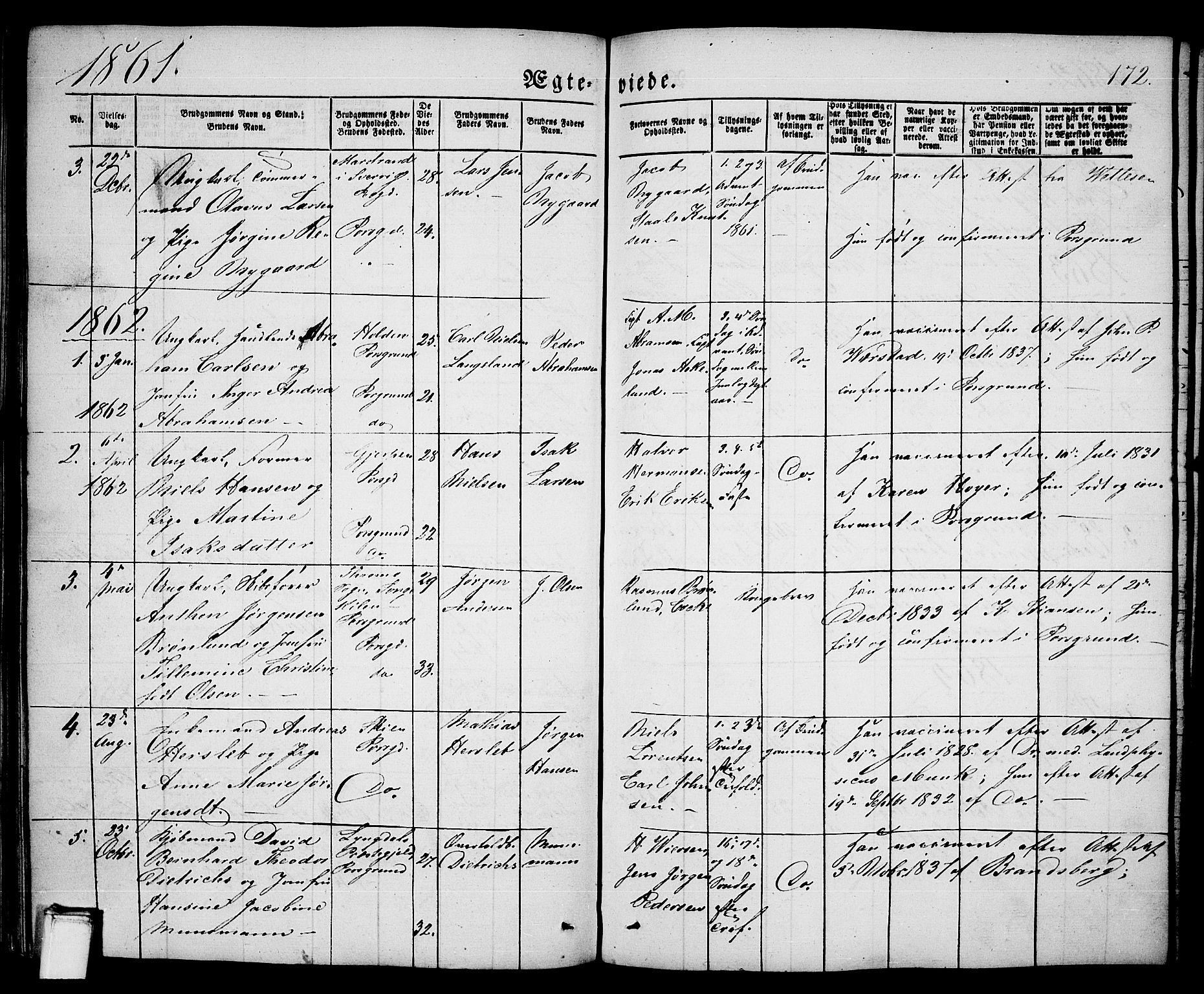 SAKO, Porsgrunn kirkebøker , G/Ga/L0002: Klokkerbok nr. I 2, 1847-1877, s. 172