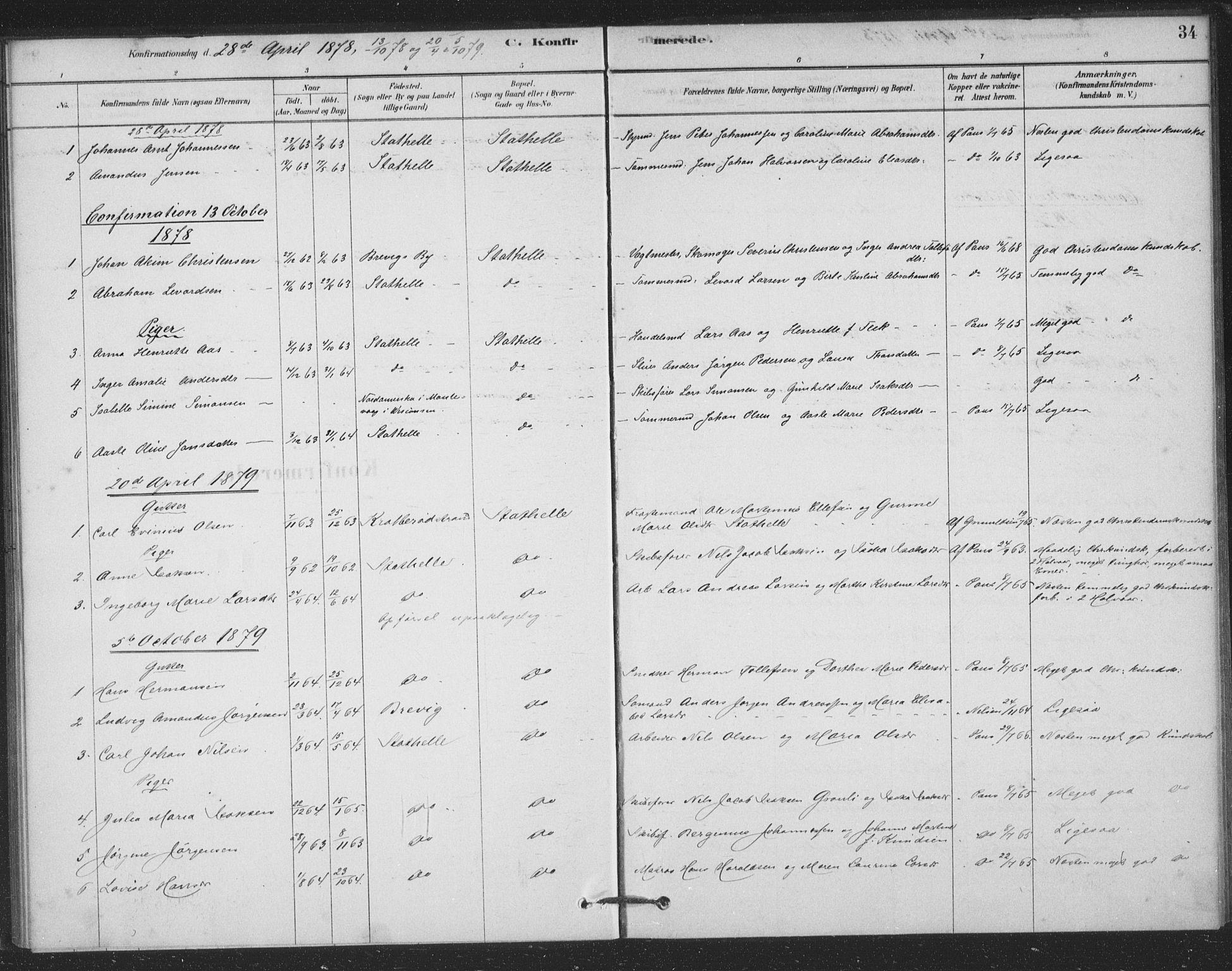 SAKO, Bamble kirkebøker, F/Fb/L0001: Ministerialbok nr. II 1, 1878-1899, s. 34