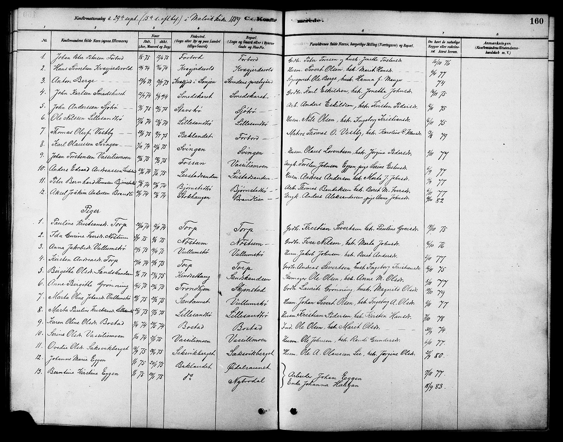 SAT, Ministerialprotokoller, klokkerbøker og fødselsregistre - Sør-Trøndelag, 616/L0423: Klokkerbok nr. 616C06, 1878-1903, s. 160