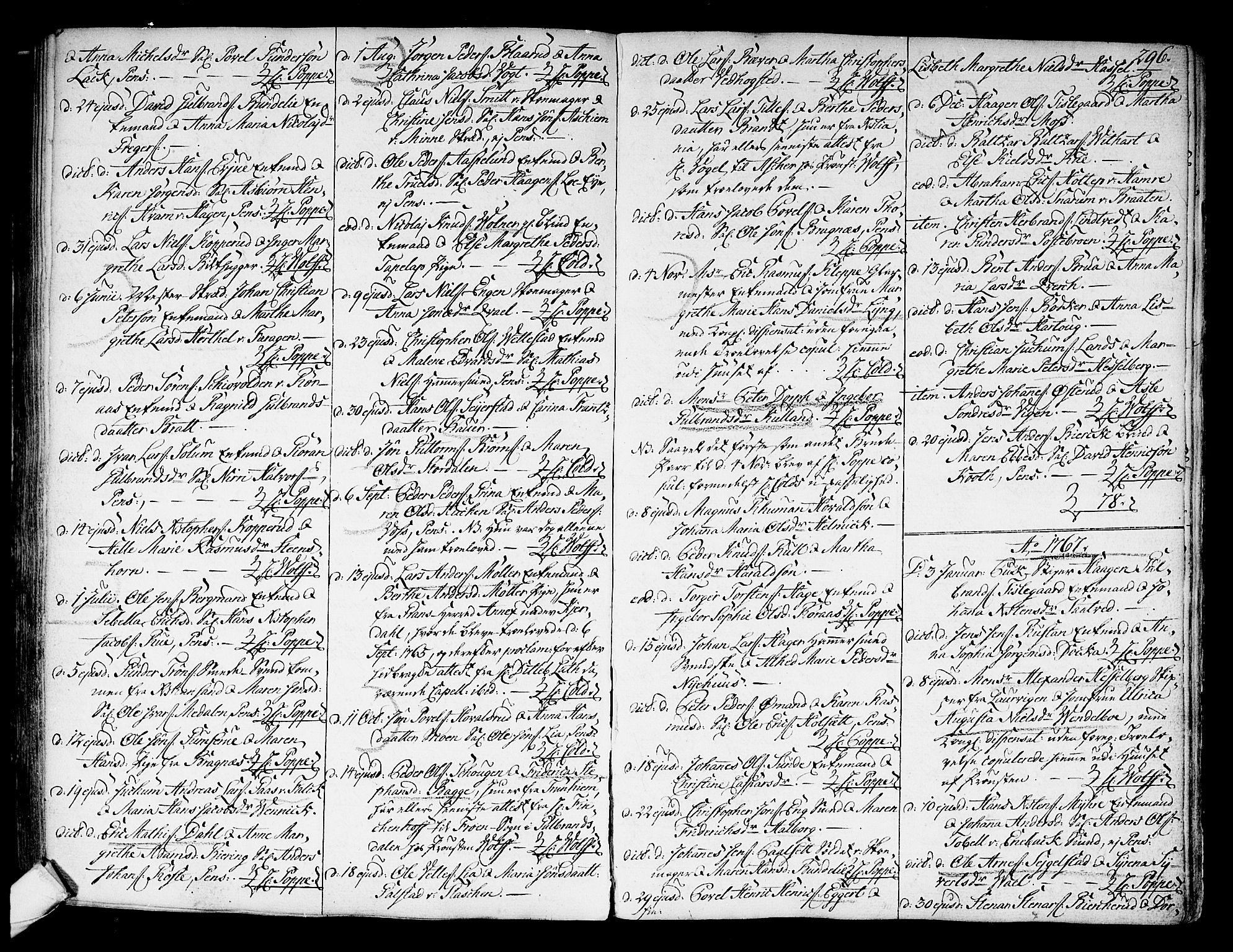 SAKO, Kongsberg kirkebøker, F/Fa/L0004: Ministerialbok nr. I 4, 1756-1768, s. 296