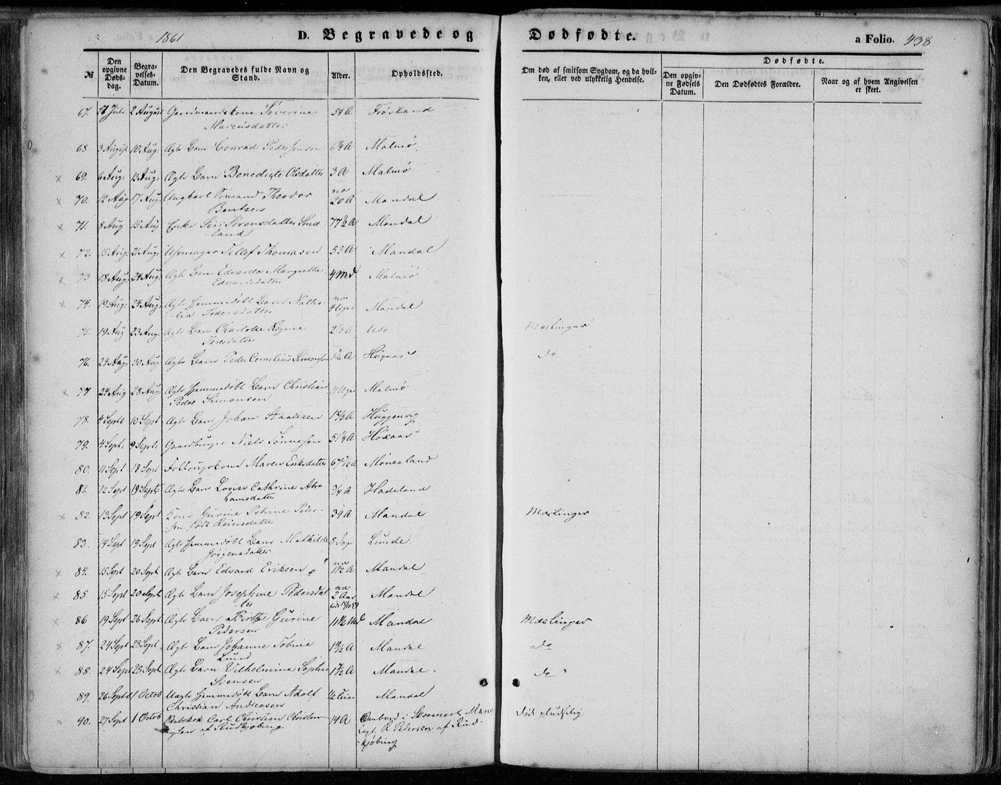 SAK, Mandal sokneprestkontor, F/Fa/Faa/L0014: Ministerialbok nr. A 14, 1859-1872, s. 438