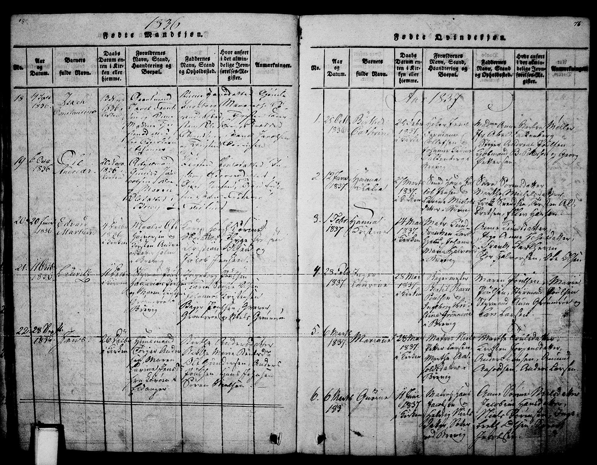 SAKO, Brevik kirkebøker, F/Fa/L0004: Ministerialbok nr. 4, 1814-1846, s. 76