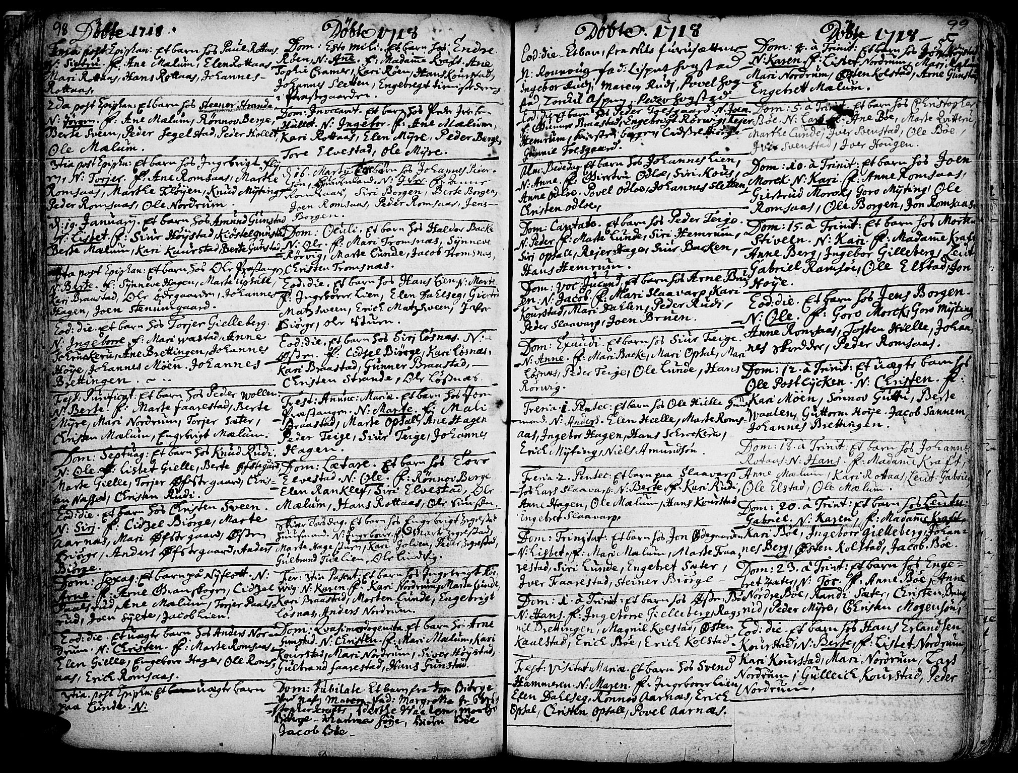 SAH, Ringebu prestekontor, Ministerialbok nr. 1, 1696-1733, s. 98-99