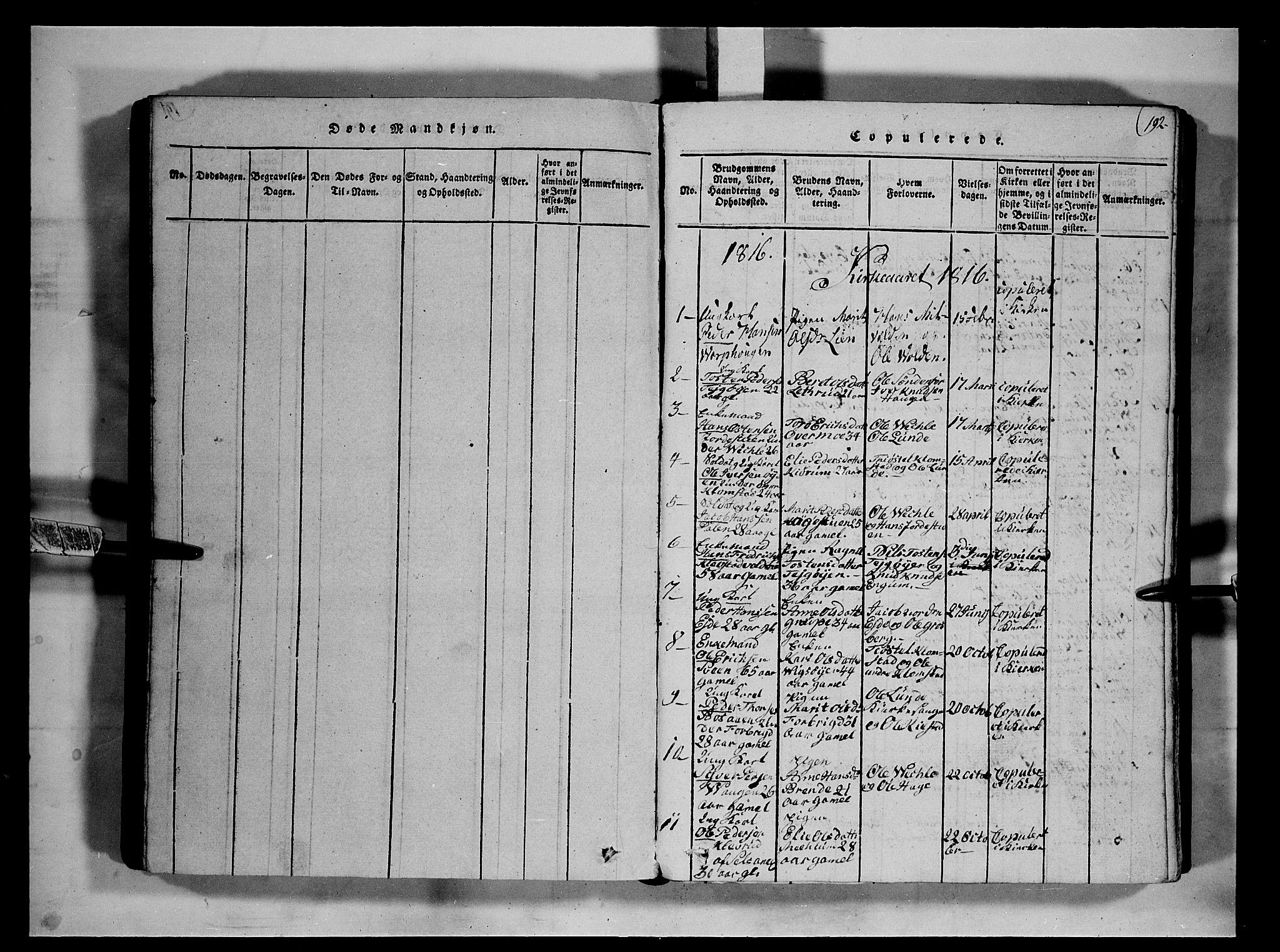 SAH, Fron prestekontor, H/Ha/Hab/L0002: Klokkerbok nr. 2, 1816-1850, s. 192
