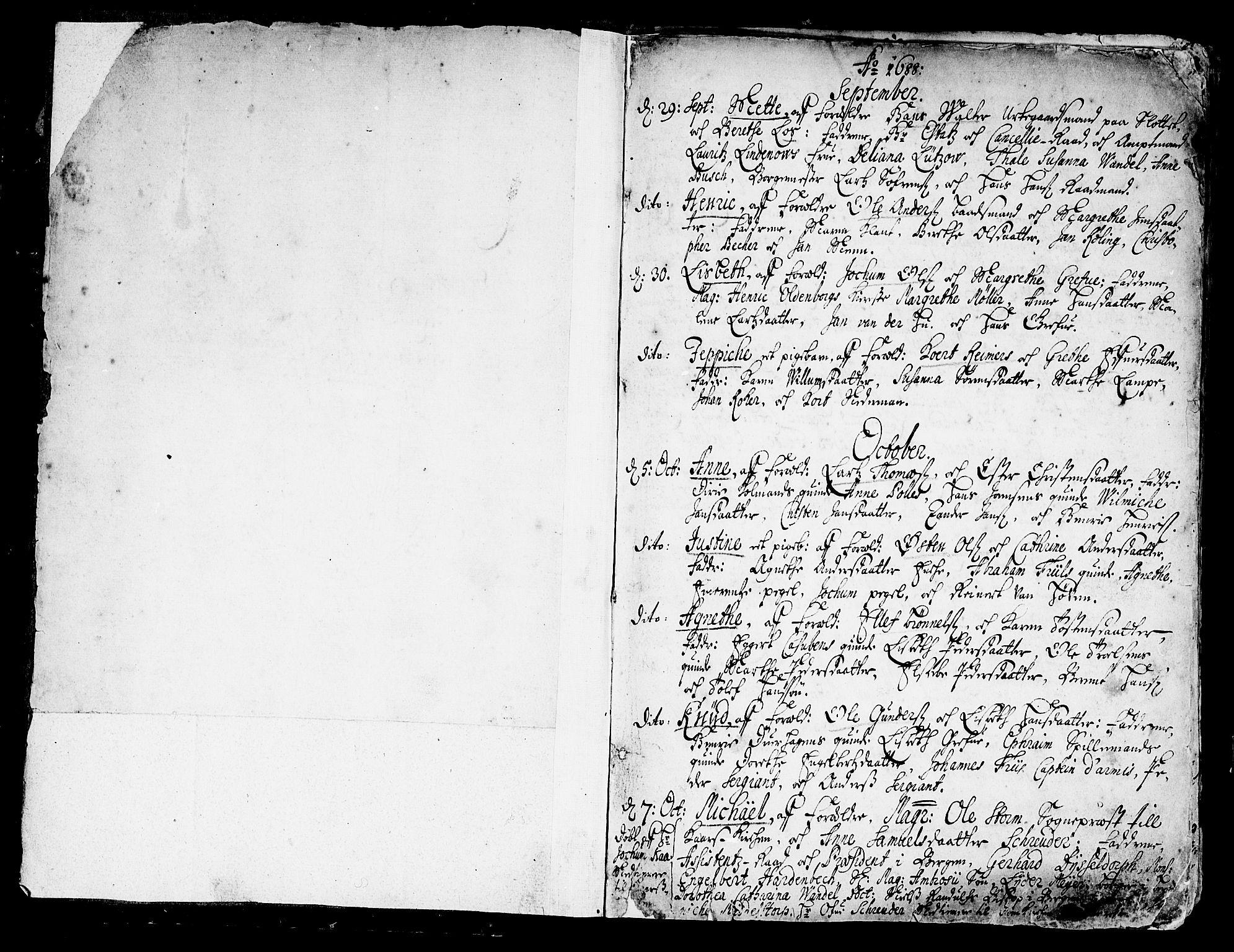 SAB, Korskirken Sokneprestembete, H/Haa/L0002: Ministerialbok nr. A 2, 1688-1697, s. 0-1