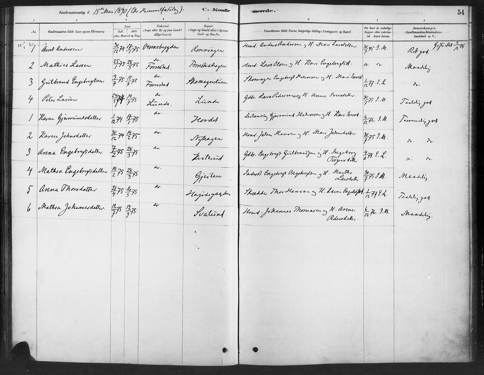 SAH, Ringebu prestekontor, Ministerialbok nr. 10, 1878-1898, s. 54