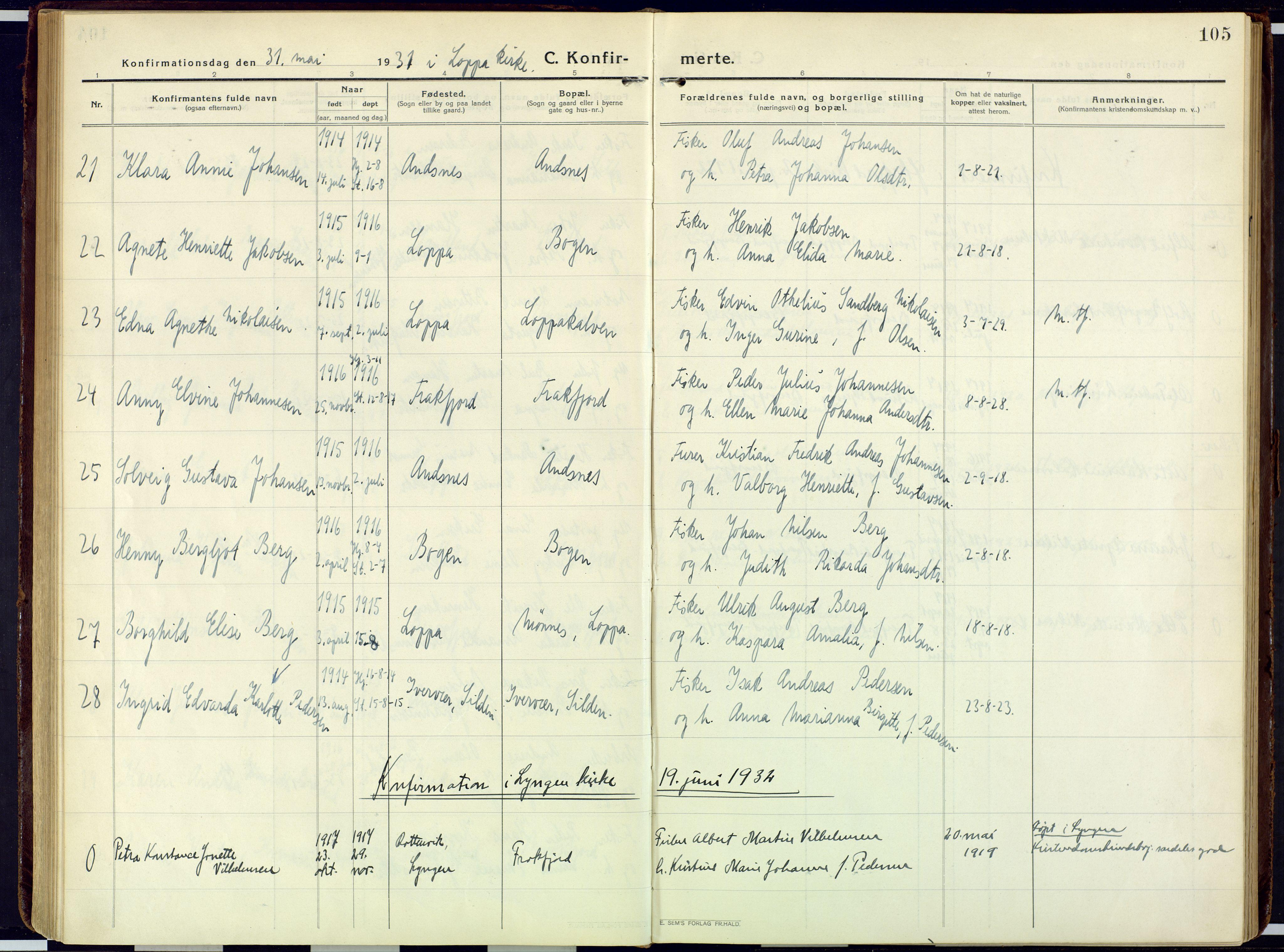 SATØ, Loppa sokneprestkontor, H/Ha/L0013kirke: Ministerialbok nr. 13, 1920-1932, s. 105