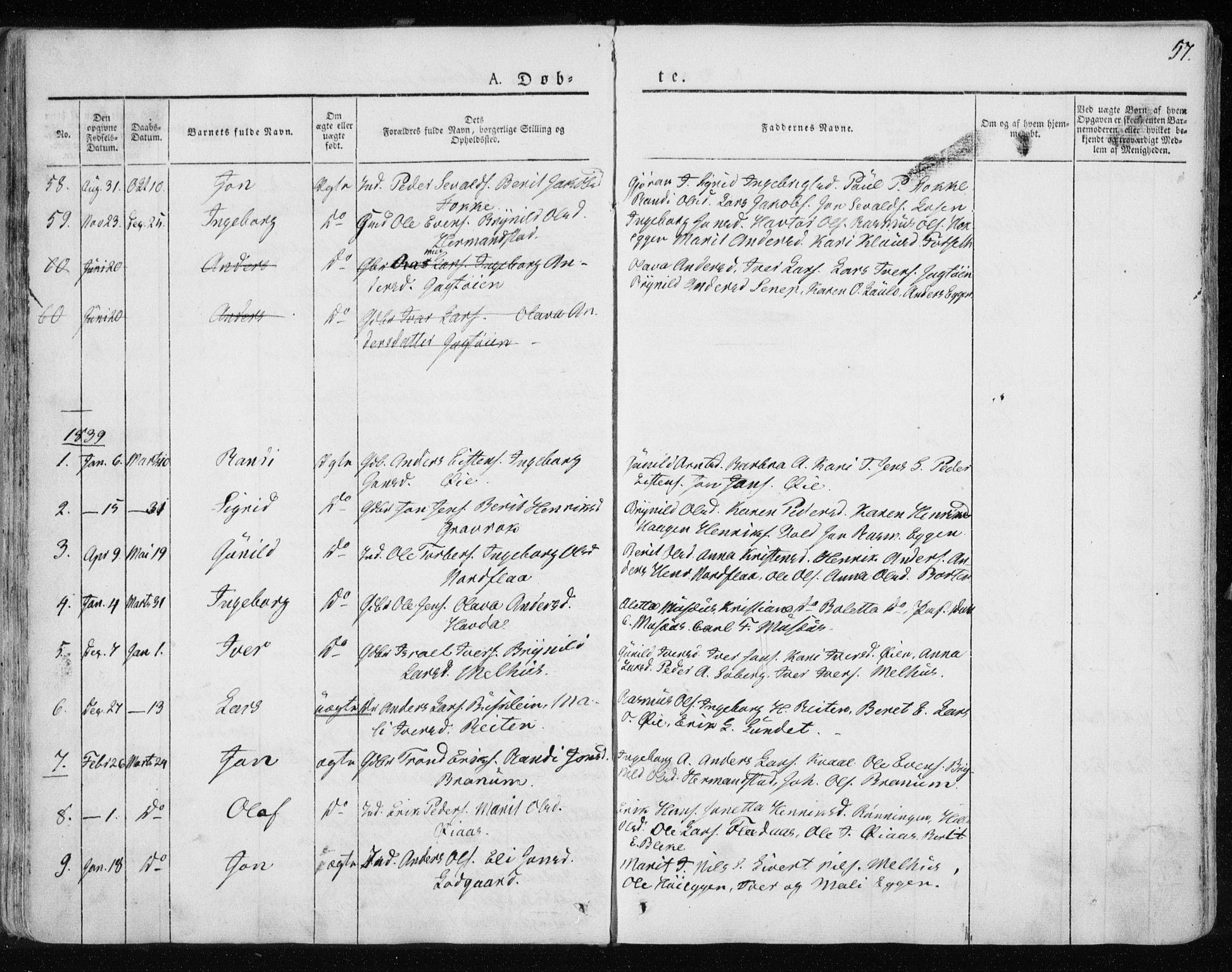 SAT, Ministerialprotokoller, klokkerbøker og fødselsregistre - Sør-Trøndelag, 691/L1069: Ministerialbok nr. 691A04, 1826-1841, s. 57
