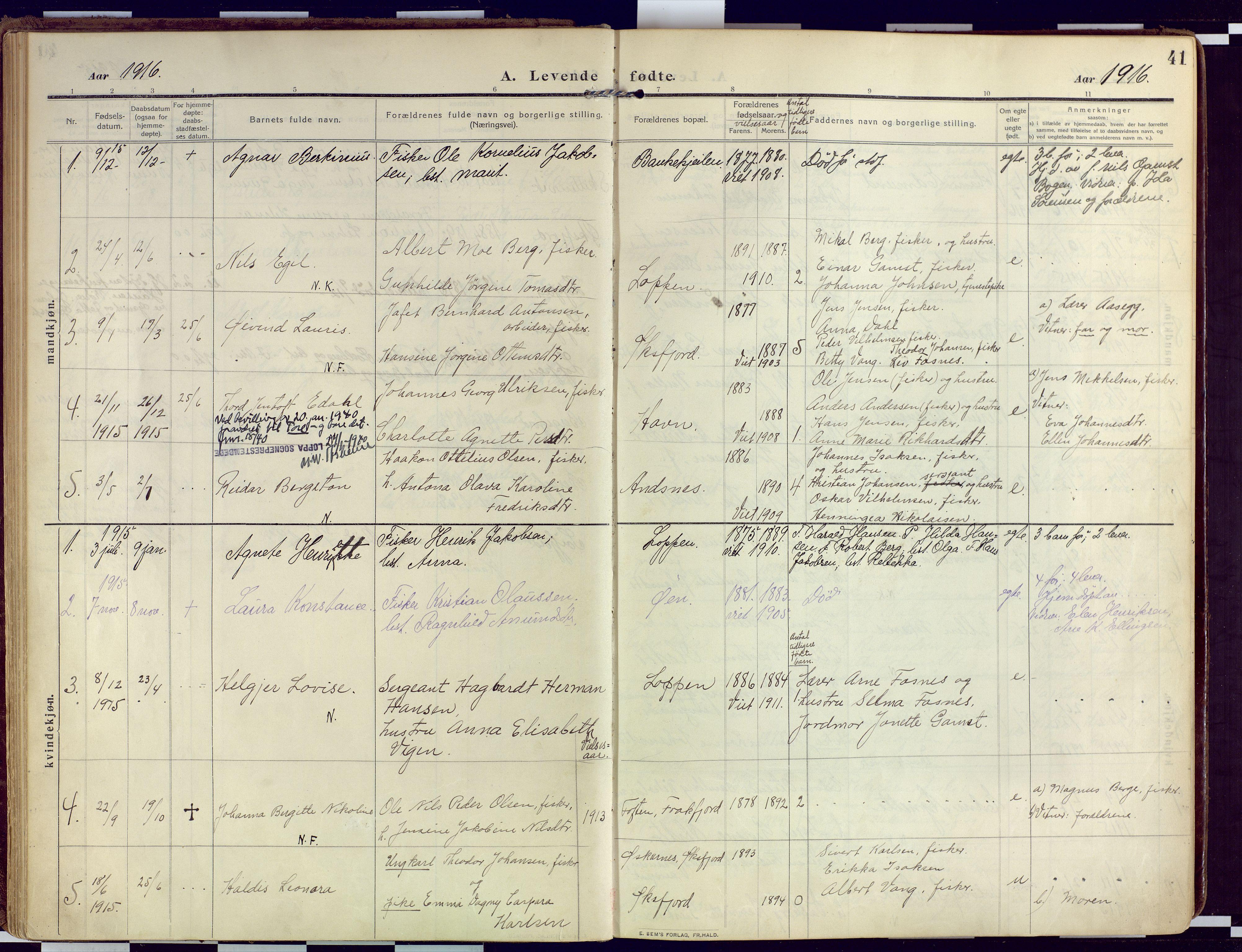 SATØ, Loppa sokneprestkontor, H/Ha/L0011kirke: Ministerialbok nr. 11, 1909-1919, s. 41